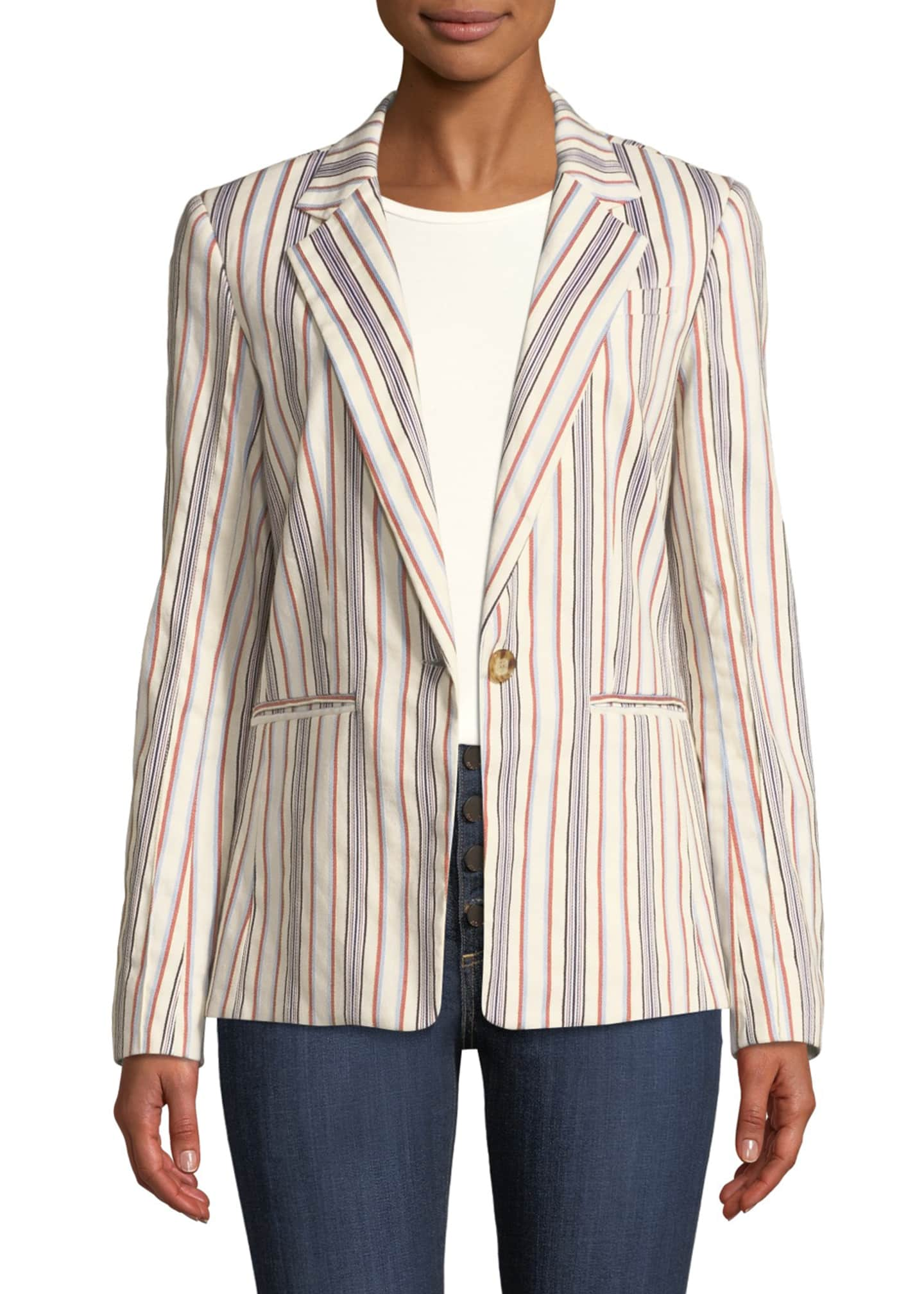Derek Lam 10 Crosby One-Button Striped Blazer Jacket
