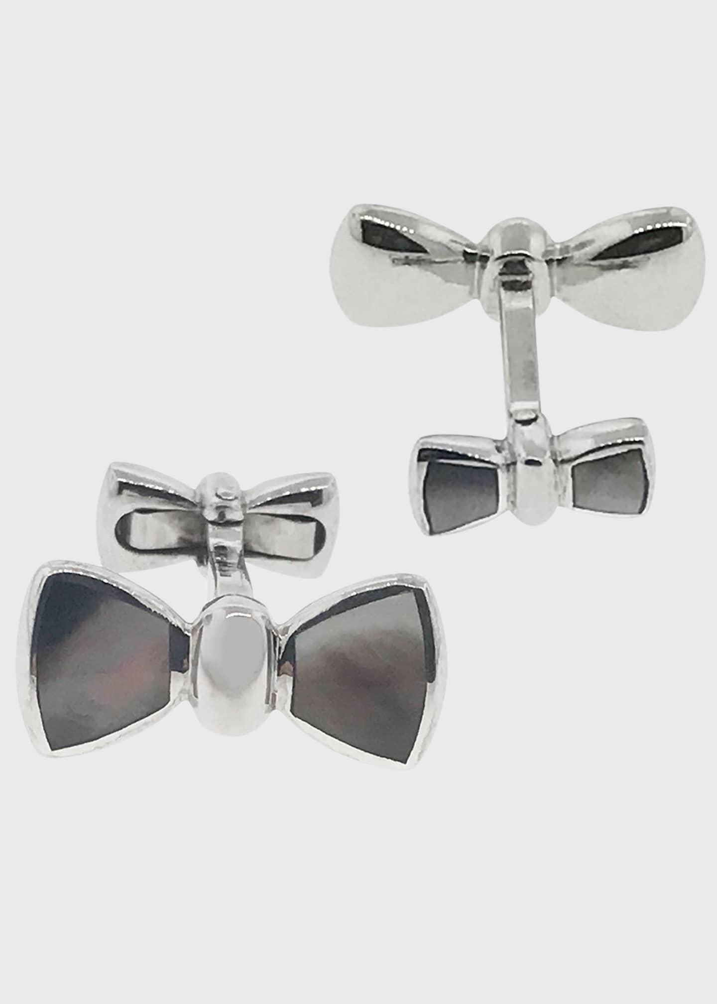 Jan Leslie Mother-of-Pearl Bow Cufflinks Set, Gray
