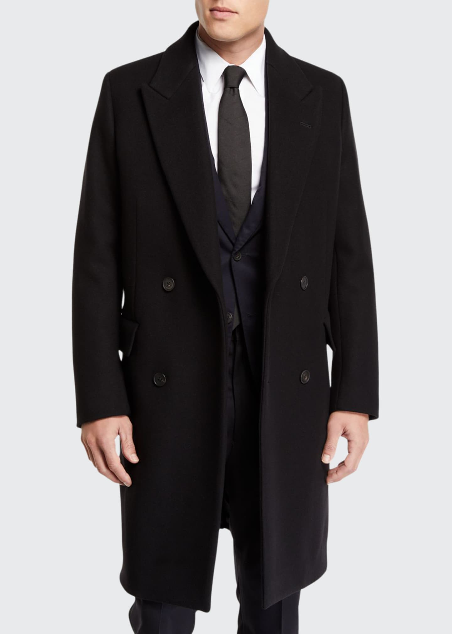 THE ROW Men's Mickey Double-Breasted Wool Overcoat