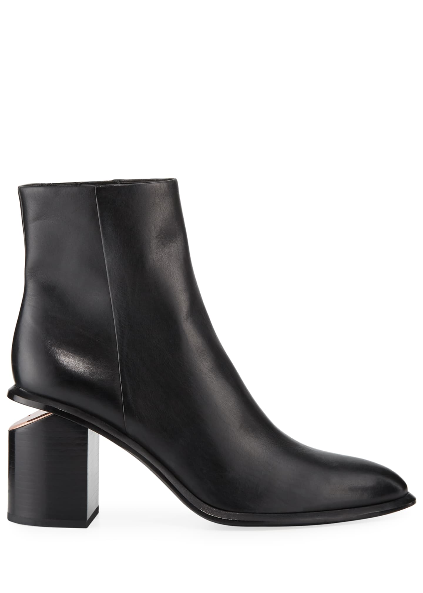 Image 2 of 3: Anna Block-Heel Leather Booties - Rose-Tone Hardware