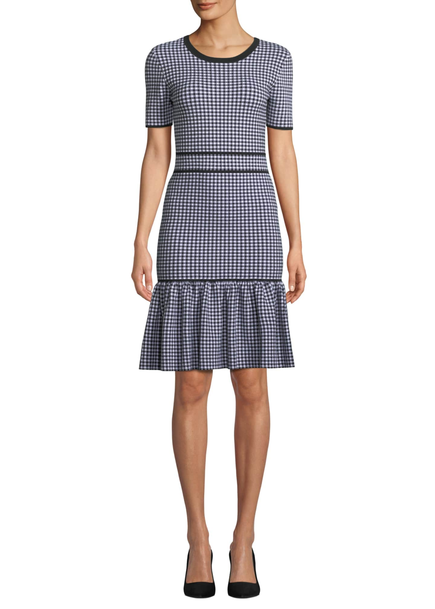 Michael Kors Collection Crewneck Short-Sleeve Gingham Check Dress