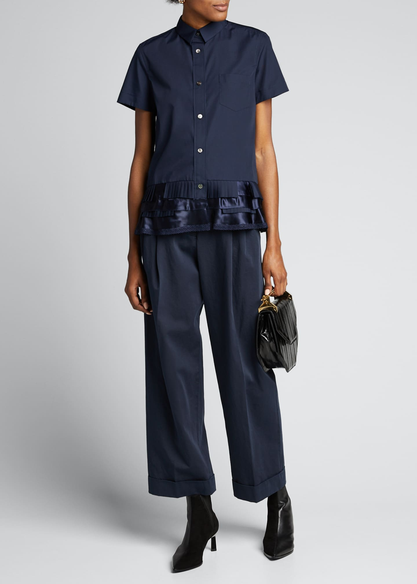 SACAI Short-Sleeve Button-Down Ruffled-Hem Shirt