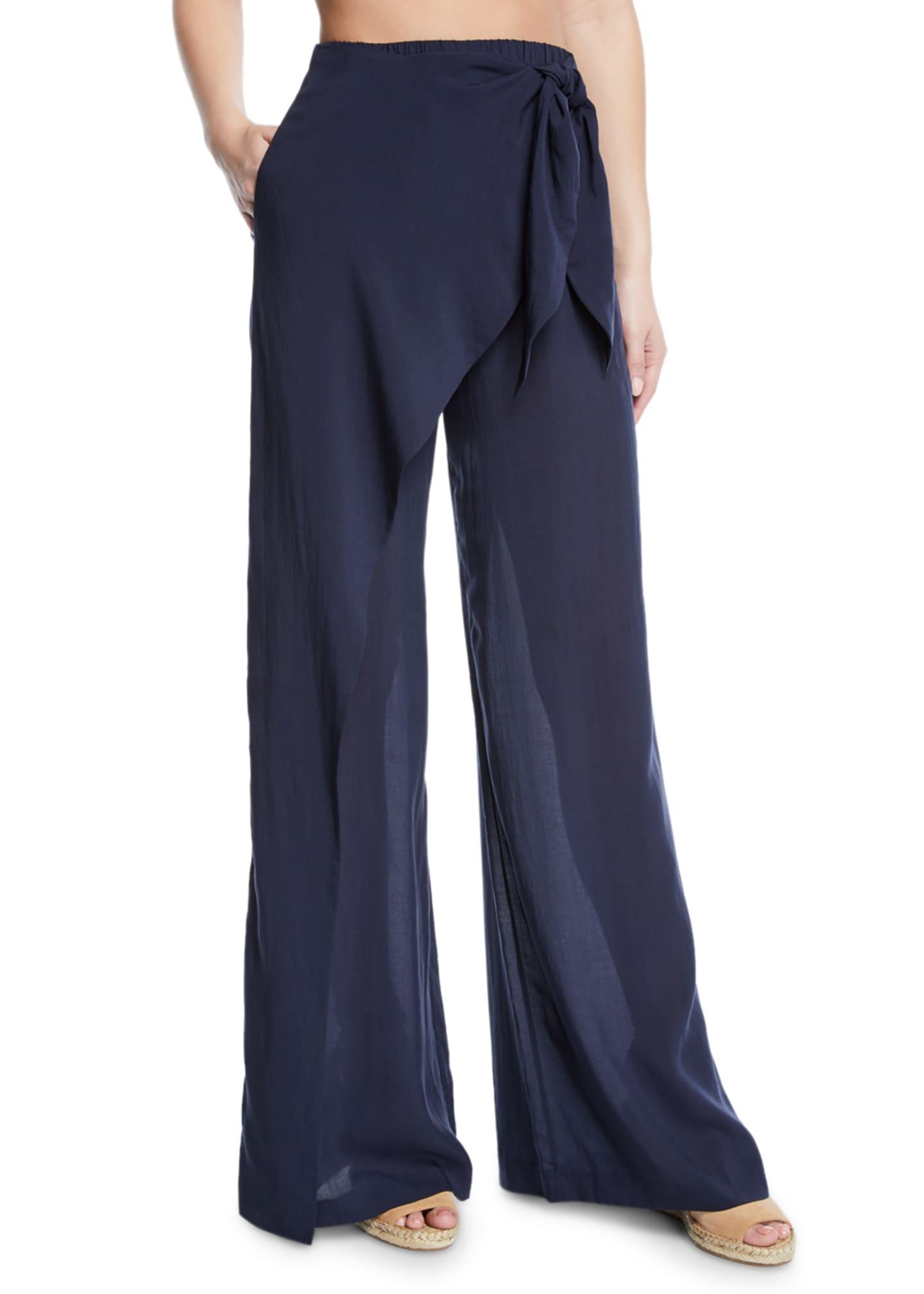 Jonathan Simkhai Tie-Front Sarong Coverup Pants