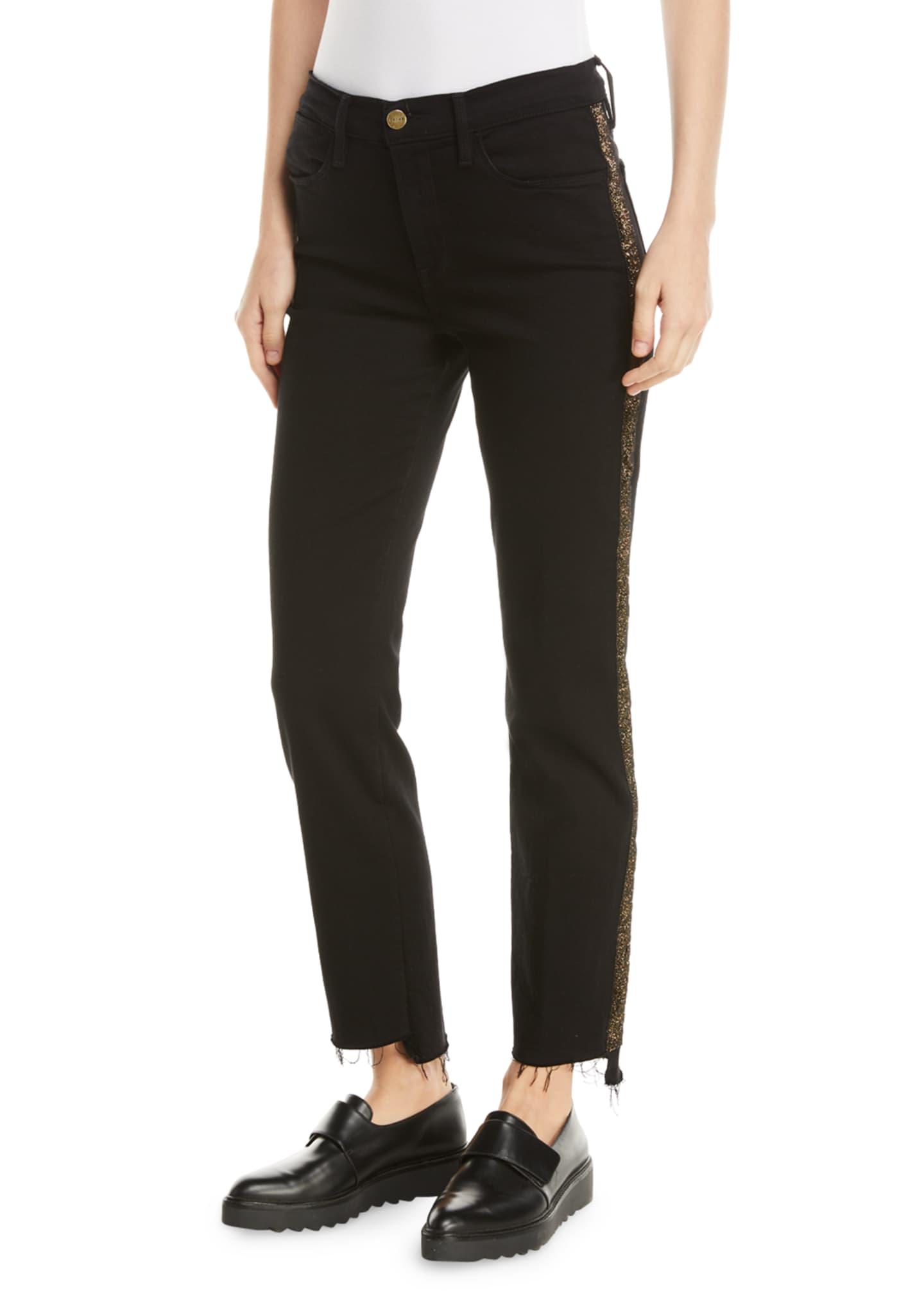 FRAME Le High Straight Stagger-Hem Jeans with Velvet