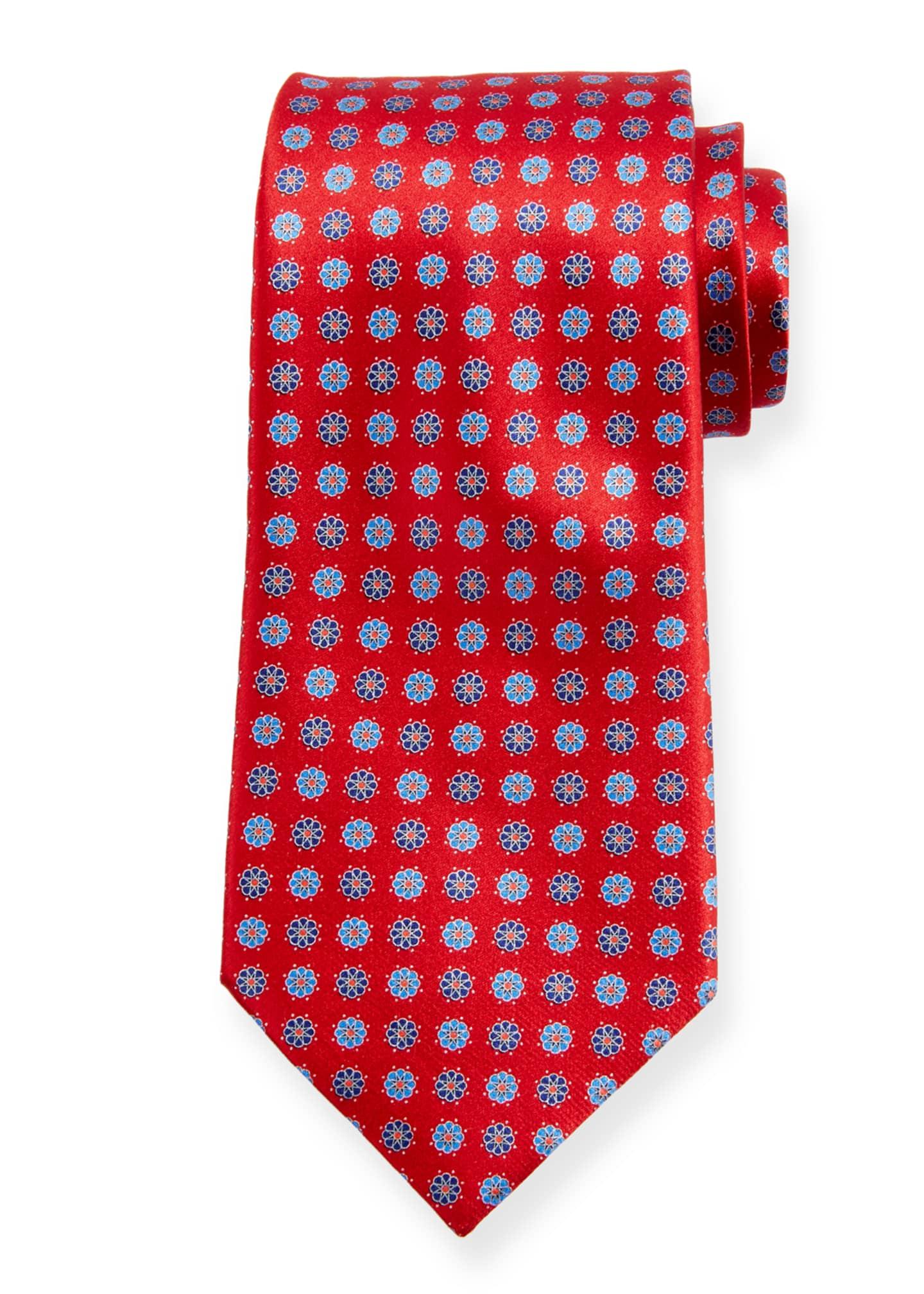 Ermenegildo Zegna Alternating Flowers Silk Tie, Red