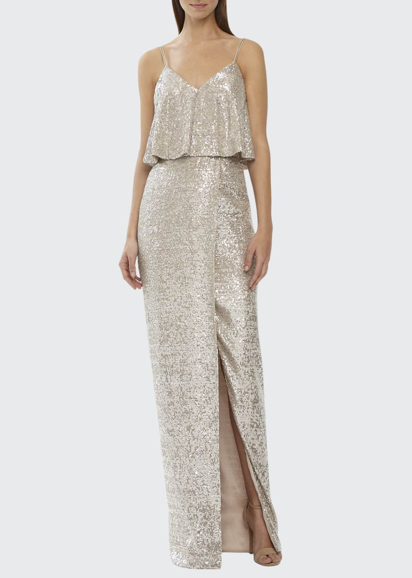 ML Monique Lhuillier Sequin V-Neck Column Dress w/