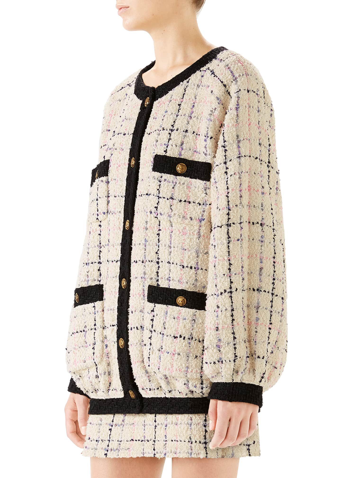 Image 2 of 4: Oversized Tweed Bomber Jacket