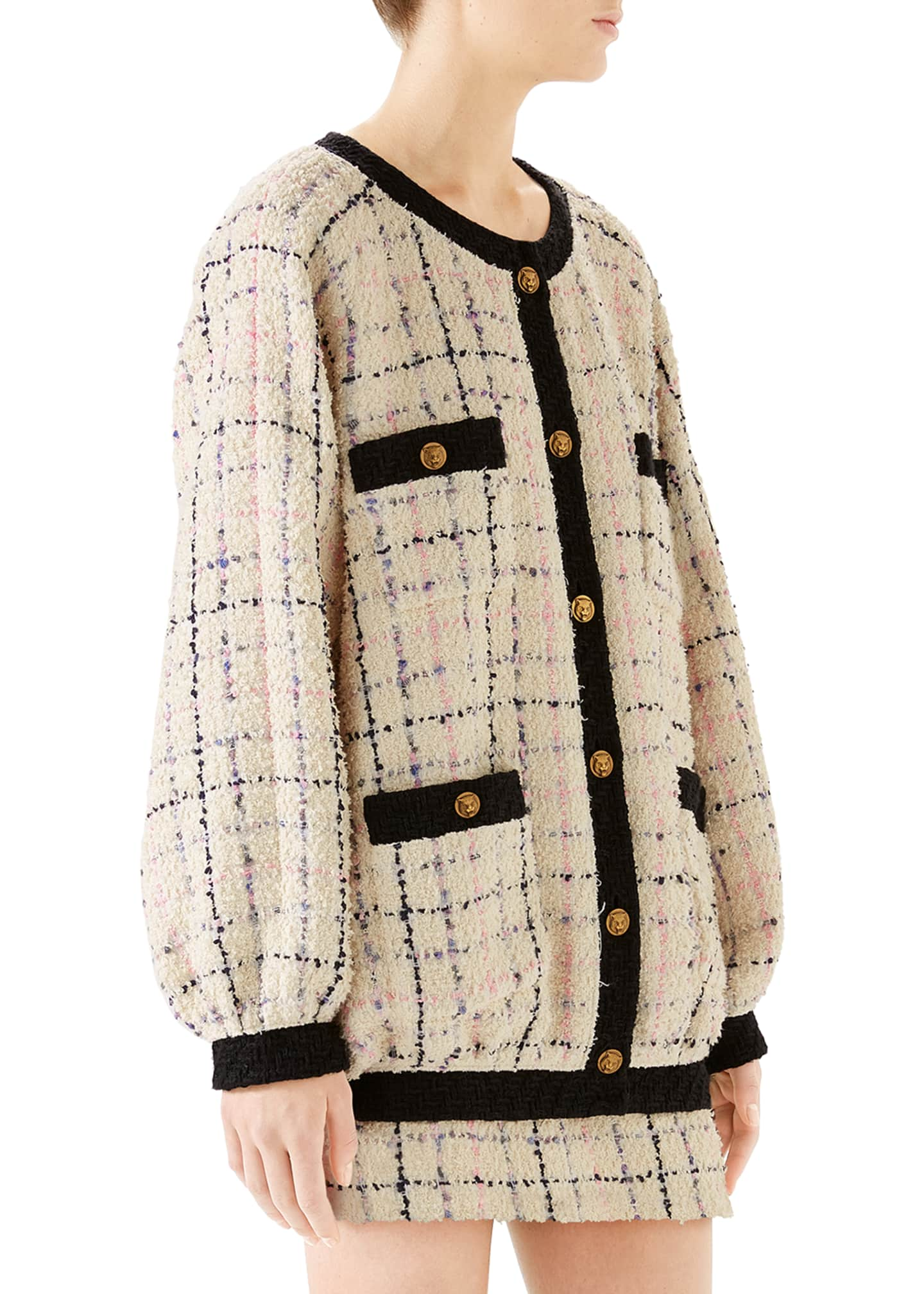 Image 4 of 4: Oversized Tweed Bomber Jacket