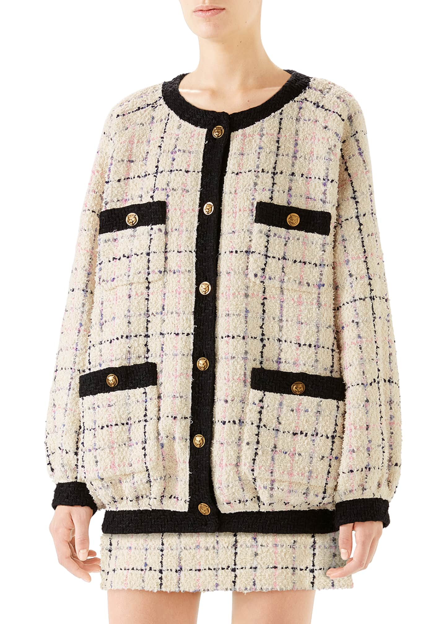 Image 1 of 4: Oversized Tweed Bomber Jacket