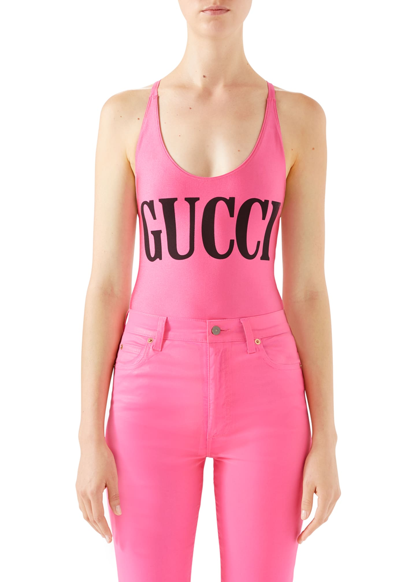 Gucci Shimmer Logo One-Piece Swimsuit