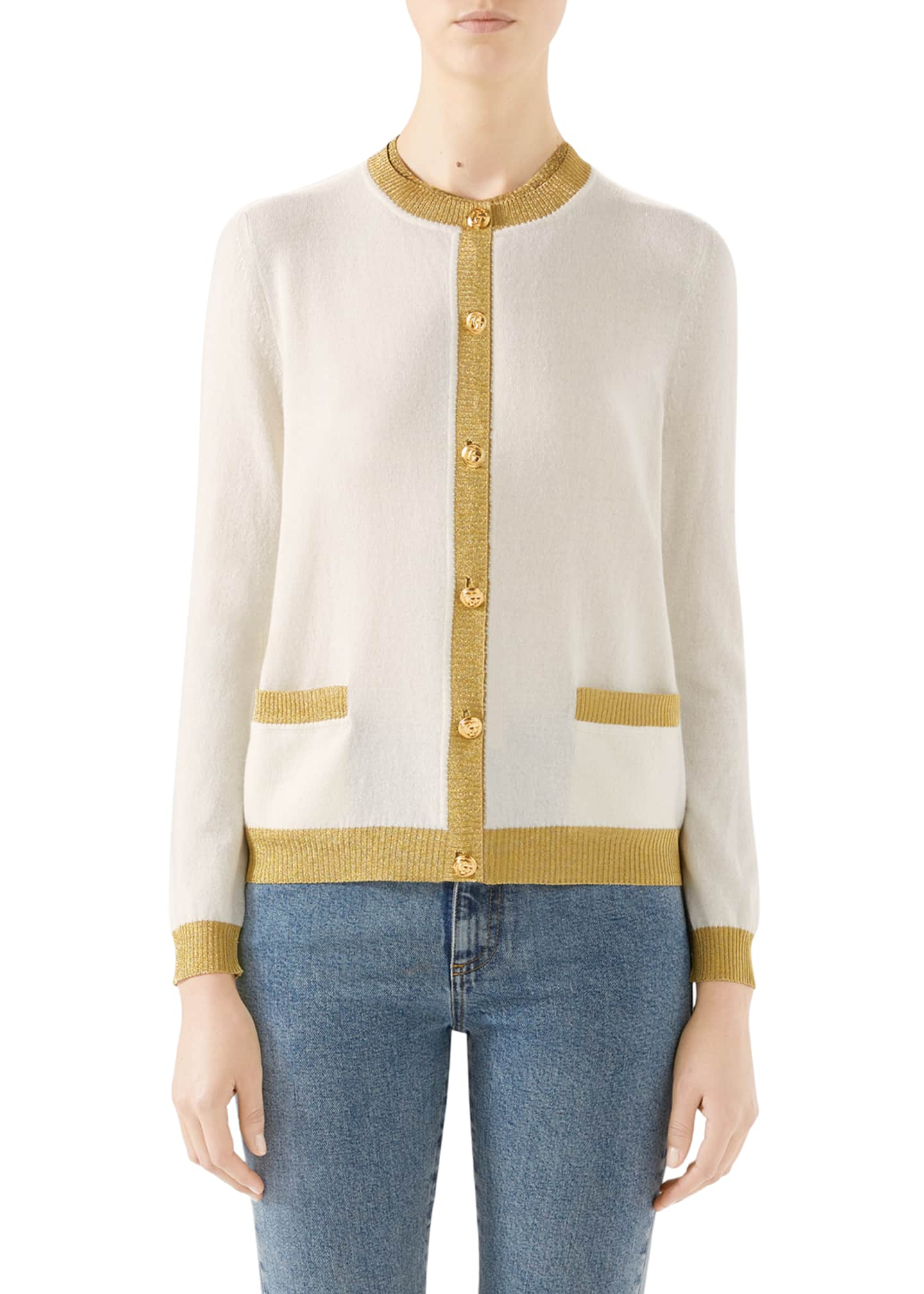 Gucci Cashmere-Silk Button-Front Cardigan