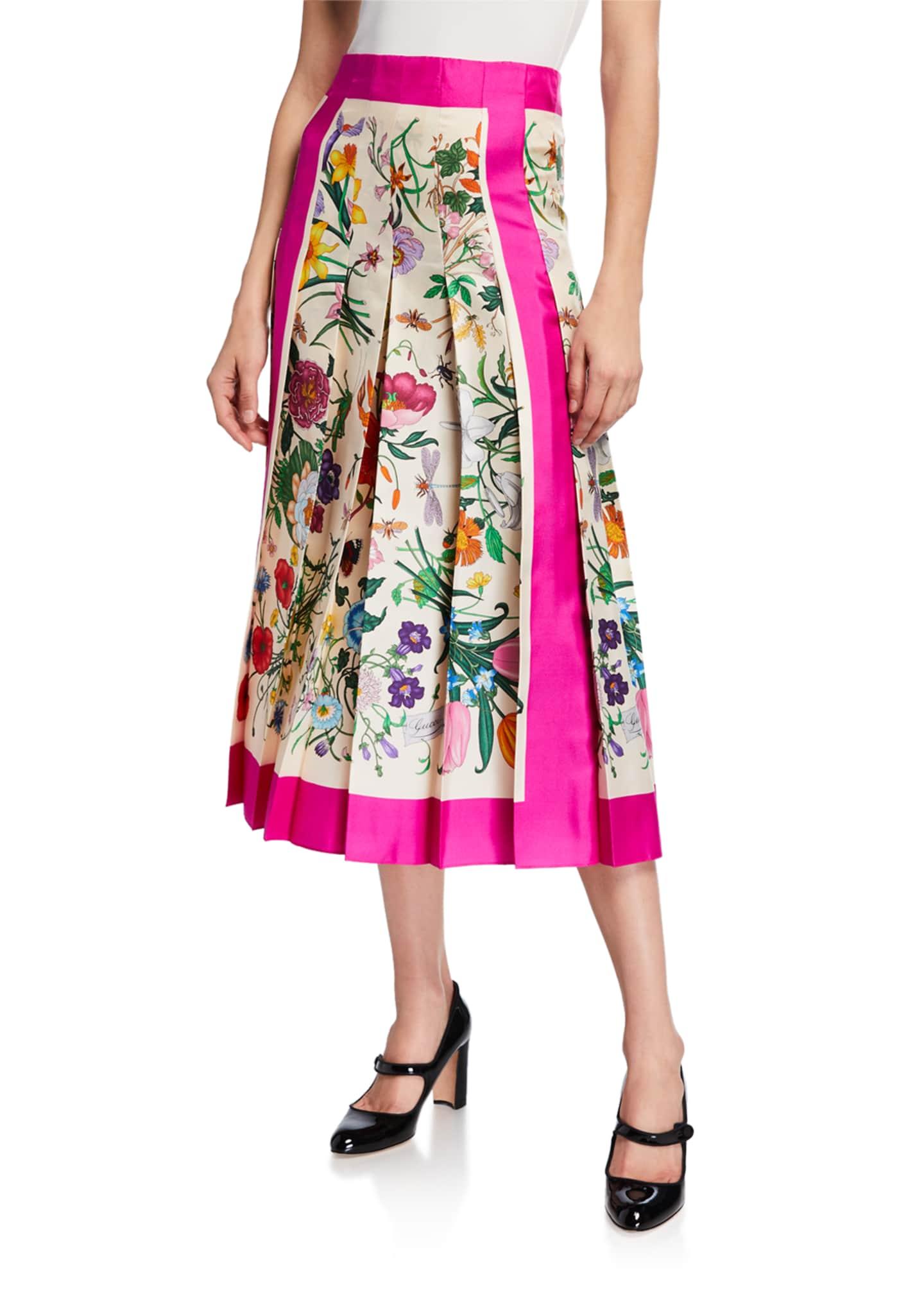 Gucci Flora Foulard Twill Midi Skirt