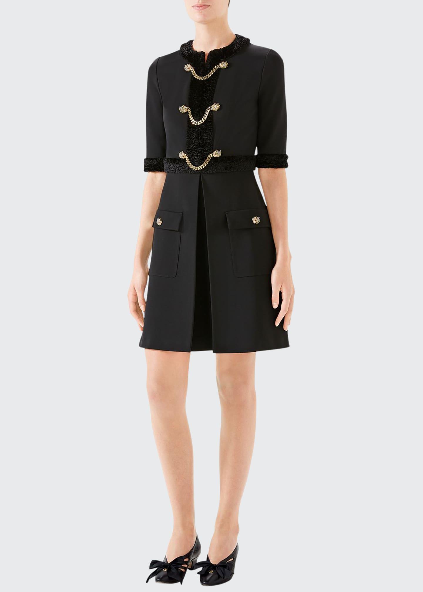 Gucci Jersey Tiger-Head Button Dress