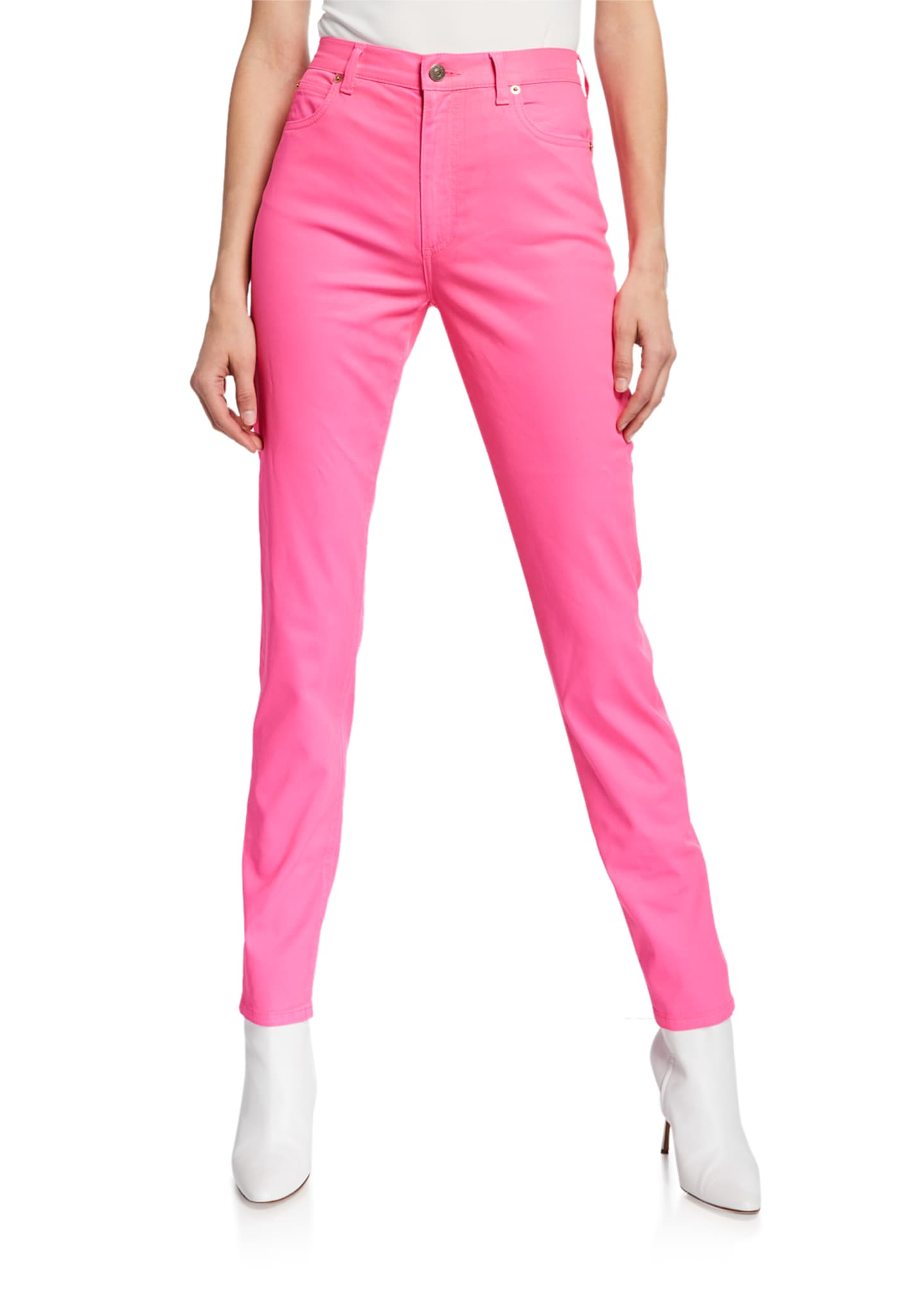 Gucci Dyed Denim Skinny Jeans, Bright Pink