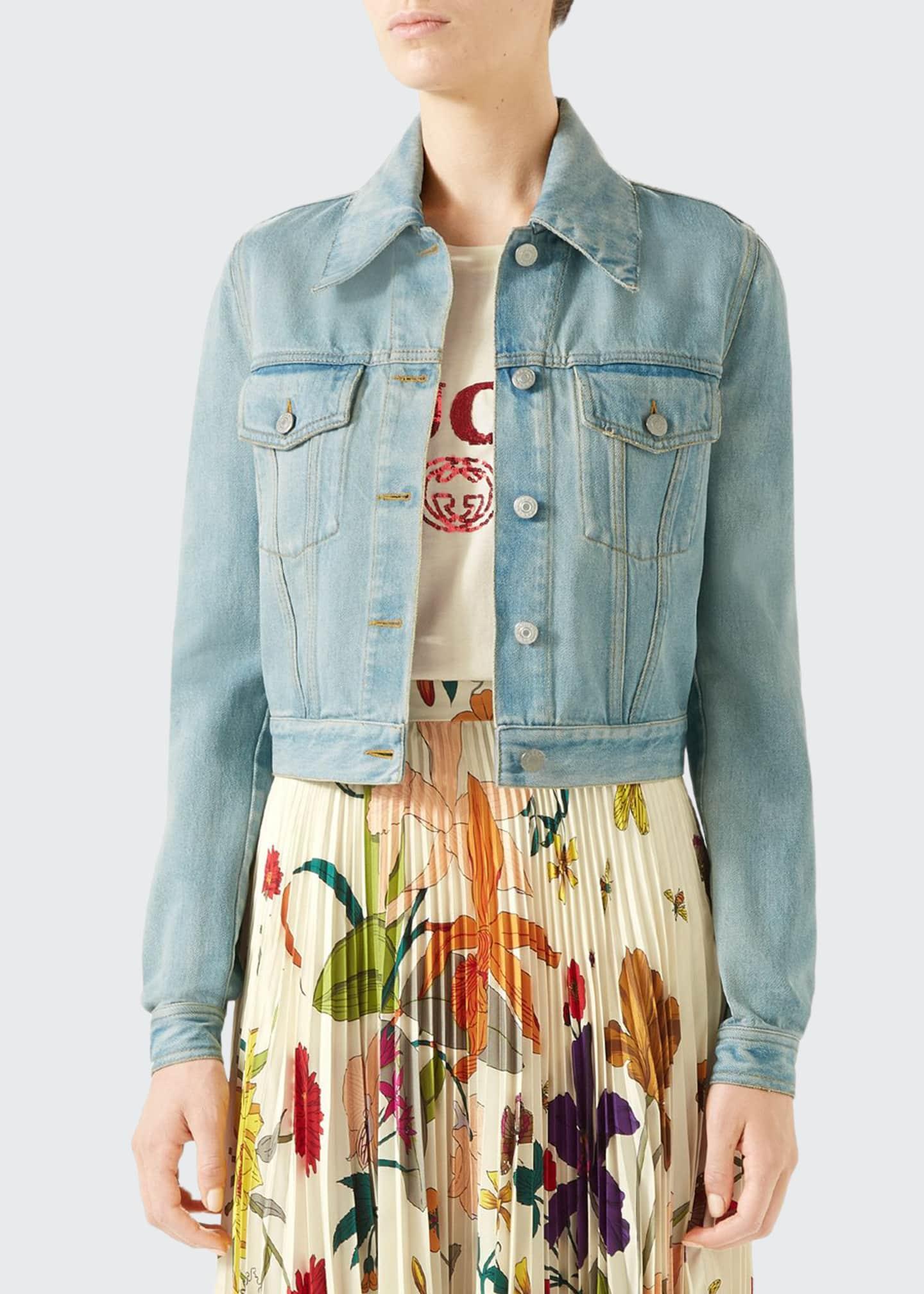 Gucci Patchwork-Back Stone-Washed Denim Jacket