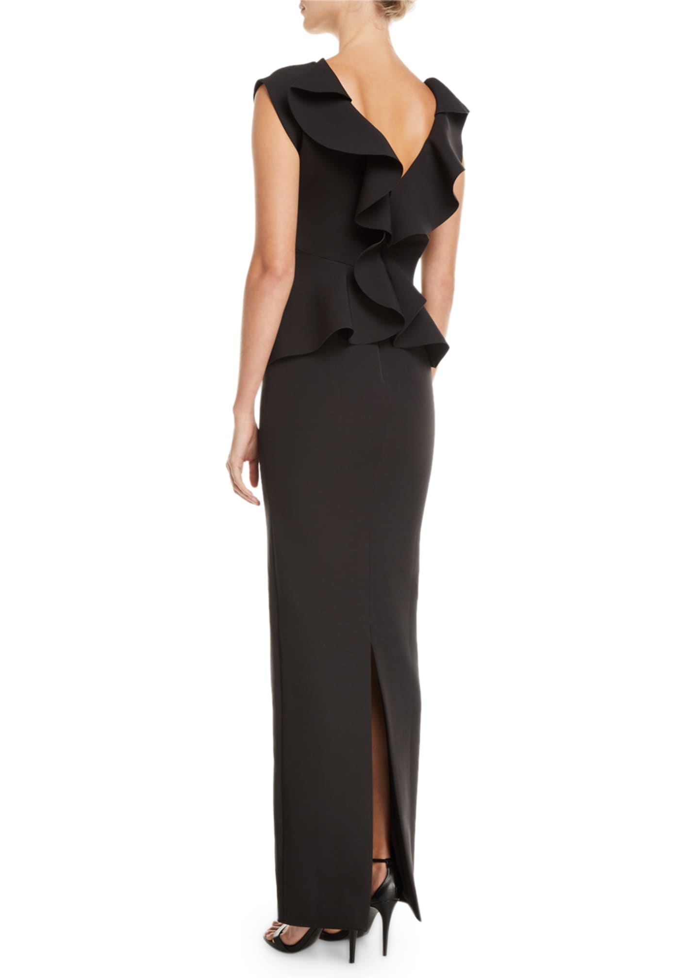 Image 2 of 2: Peplum Ruffle-Back Cinched-Waist Column Twill Evening Gown
