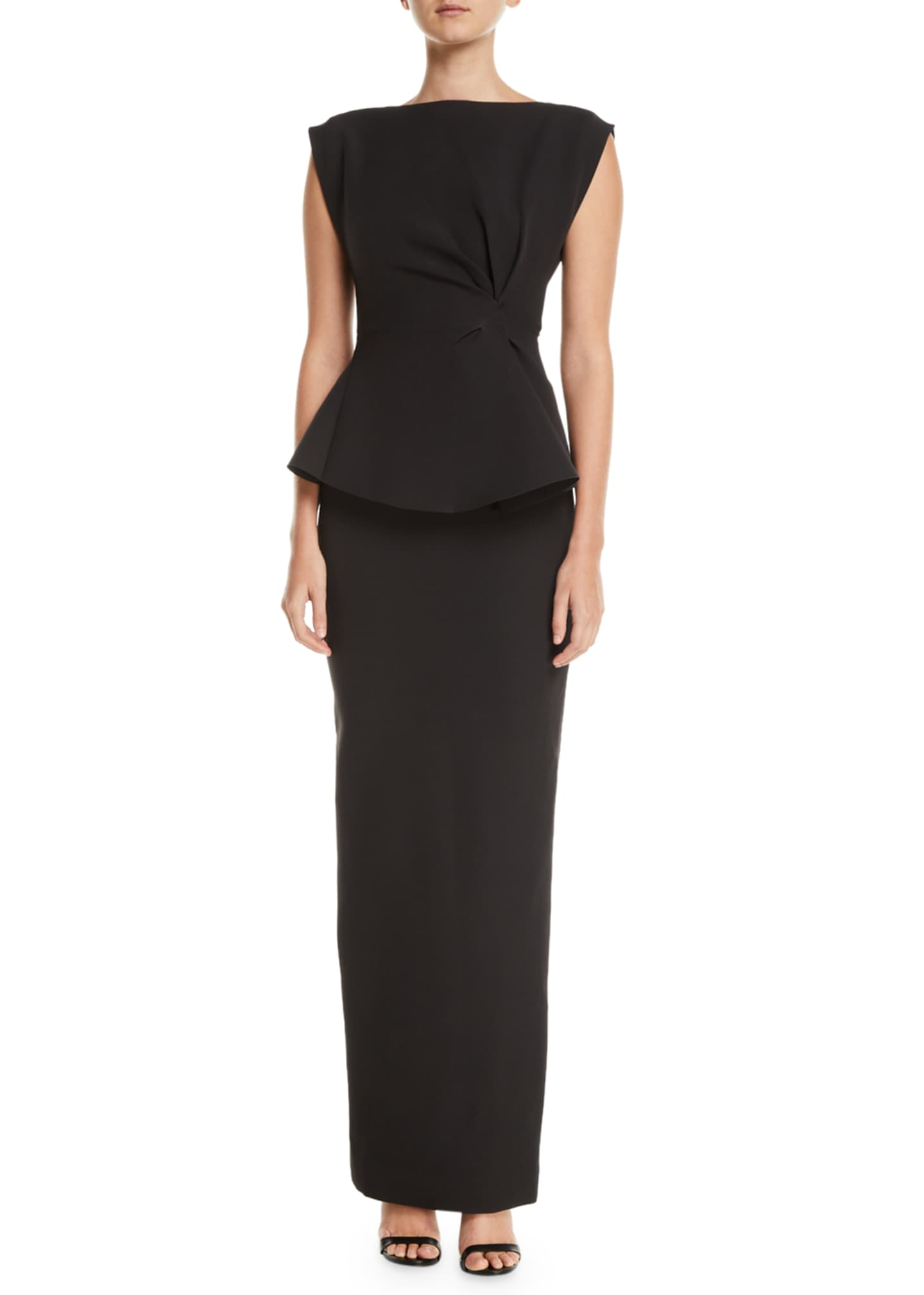 Image 1 of 2: Peplum Ruffle-Back Cinched-Waist Column Twill Evening Gown