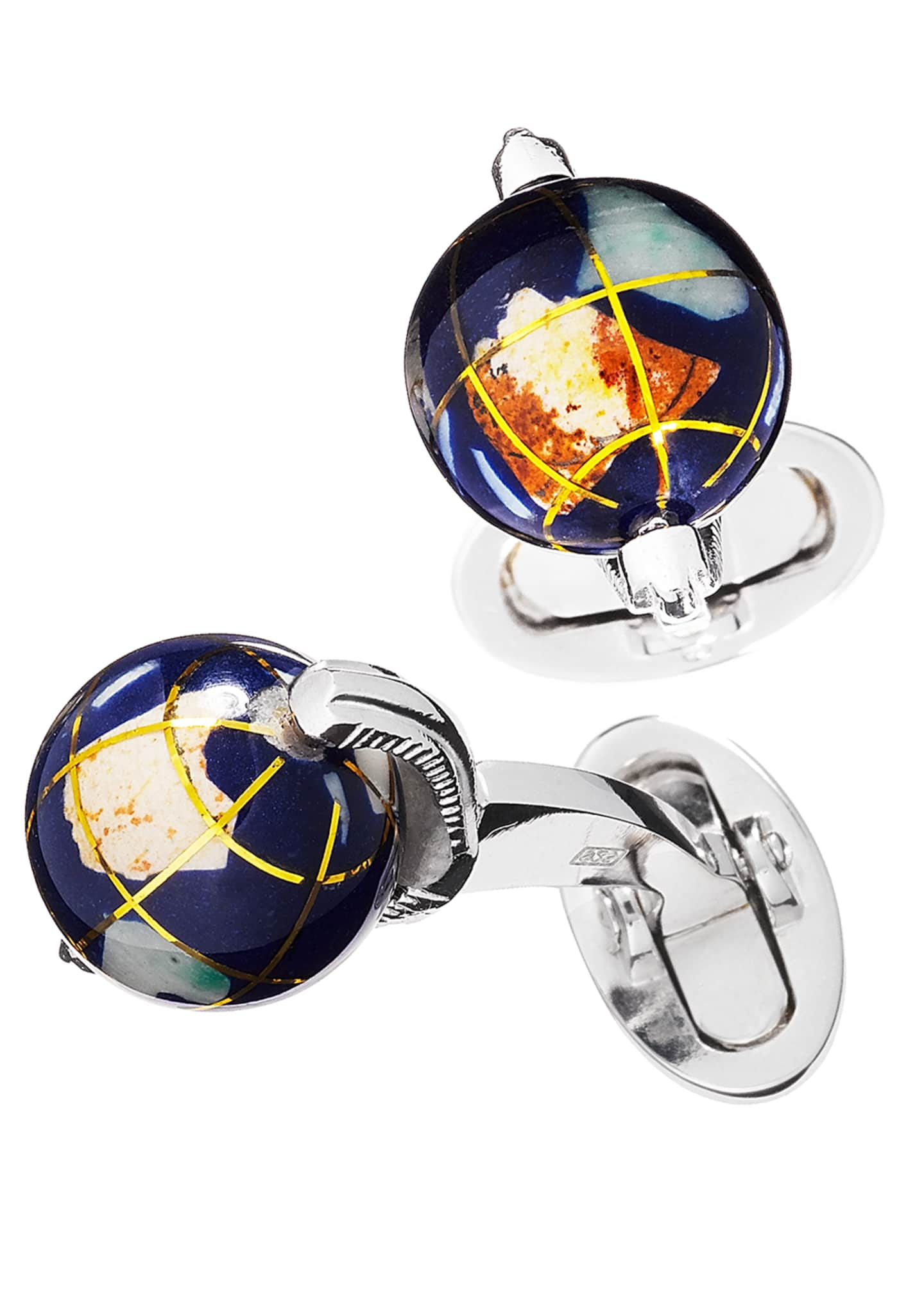 Image 1 of 1: Spinning Lapis Inlay Globe Cuff Links