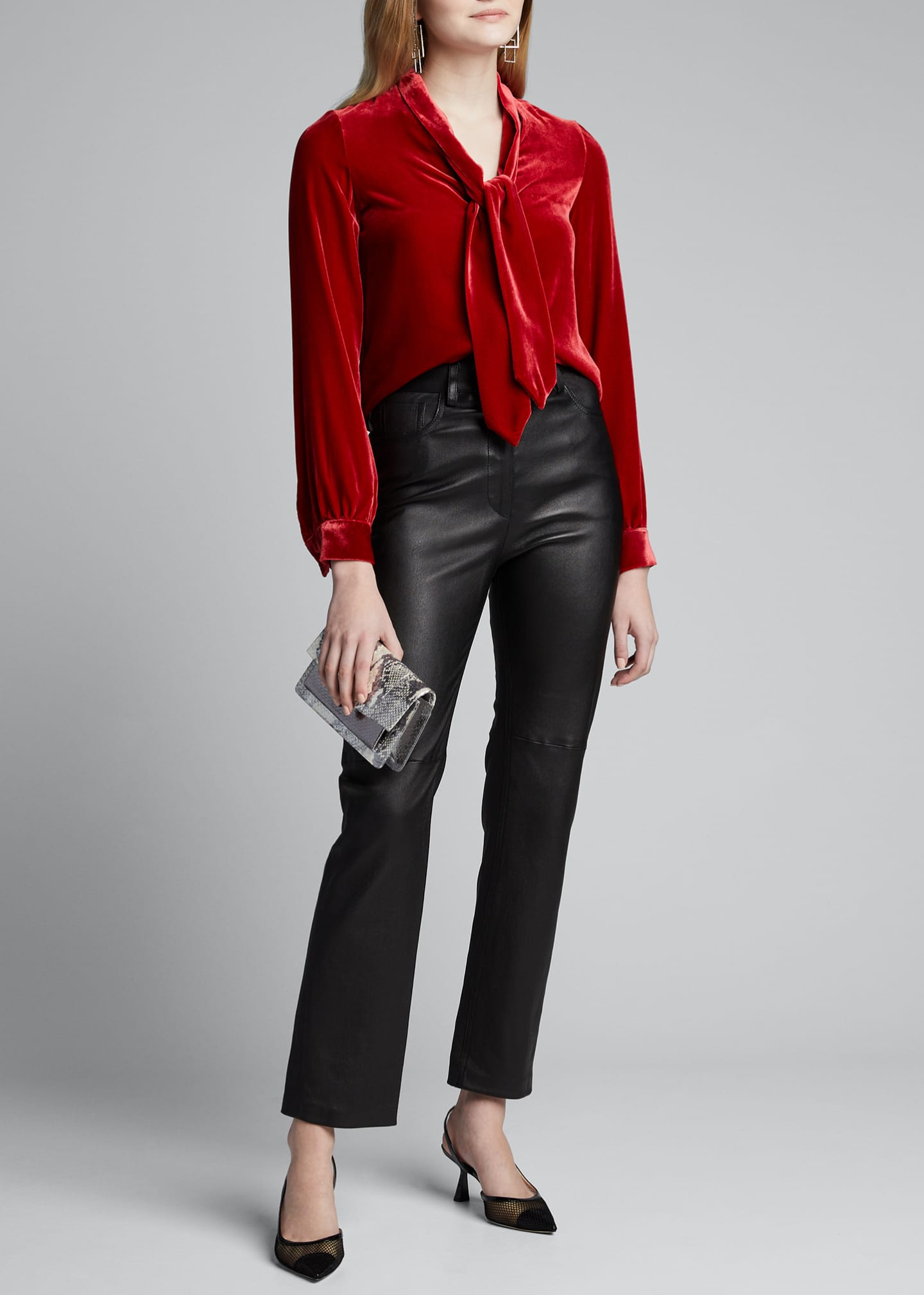 L'Agence Gisele Tie-Neck Velvet Button-Down Blouse