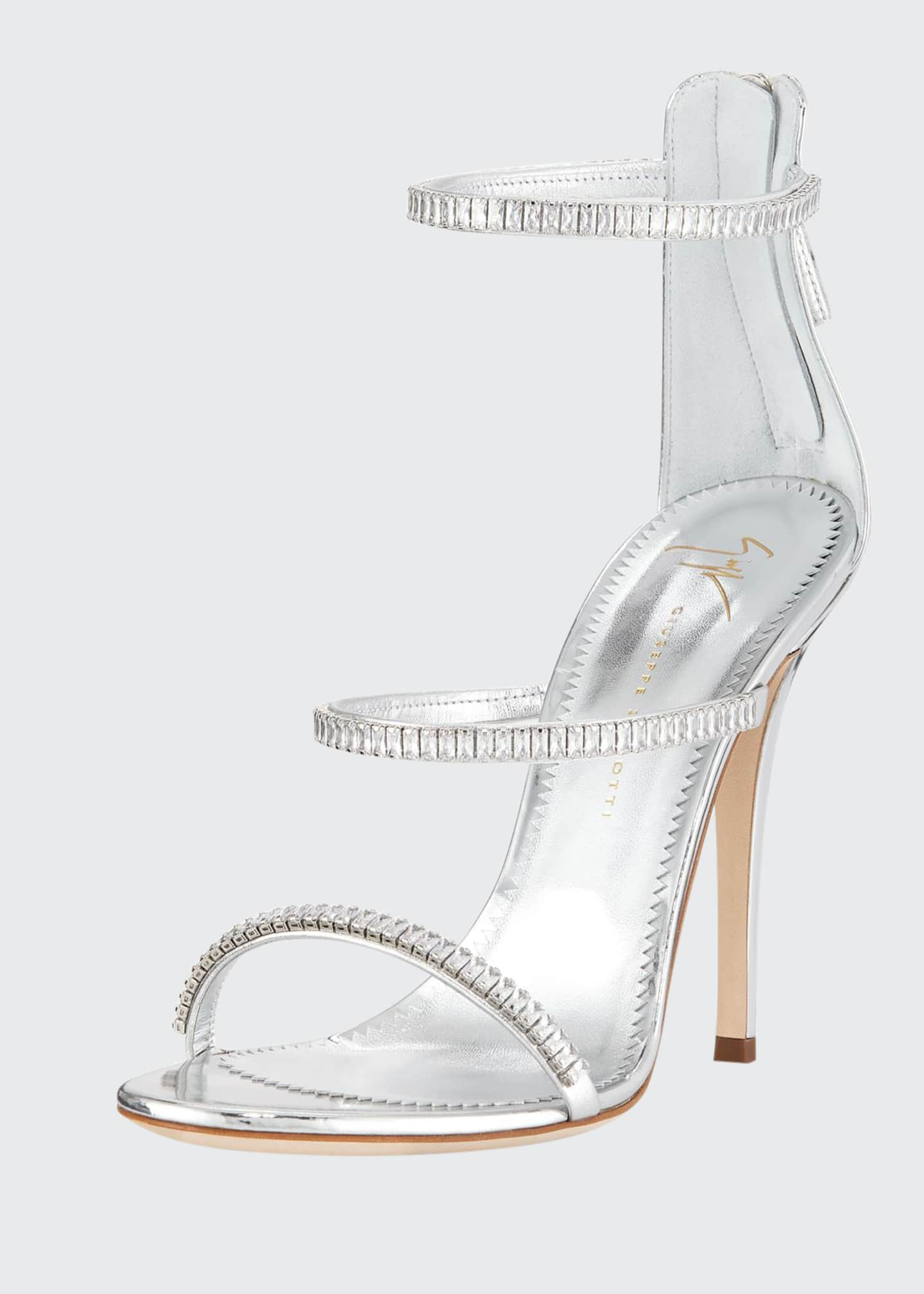 Giuseppe Zanotti Metallic Leather 3-Band Crystal Sandals
