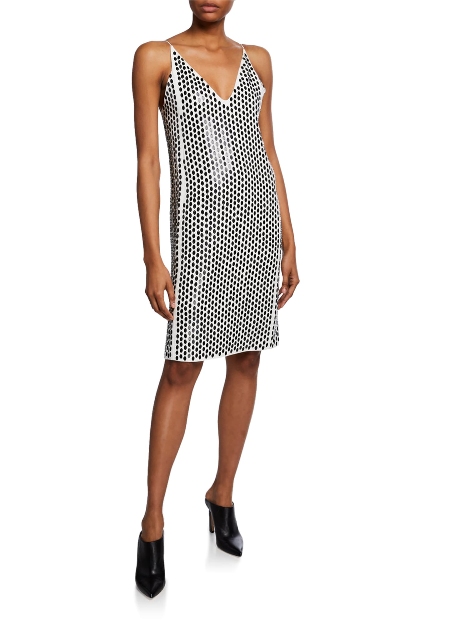 Image 1 of 2: Embellished-Front Crepe V-neck Cocktail Dress