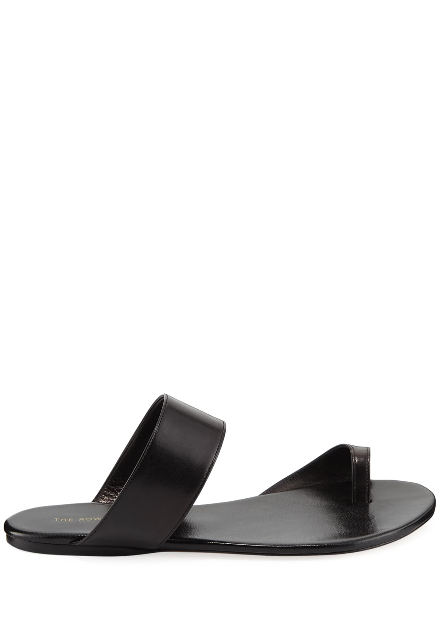 Image 2 of 4: Infradito Flat Leather Toe-Strap Slide Sandals