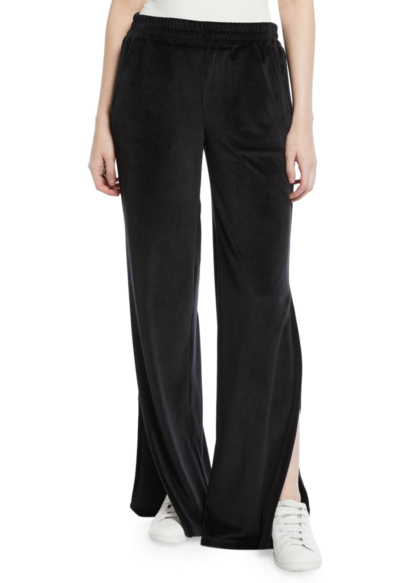 CUSHNIE Low-Rise Split-Leg Velour Active Pants