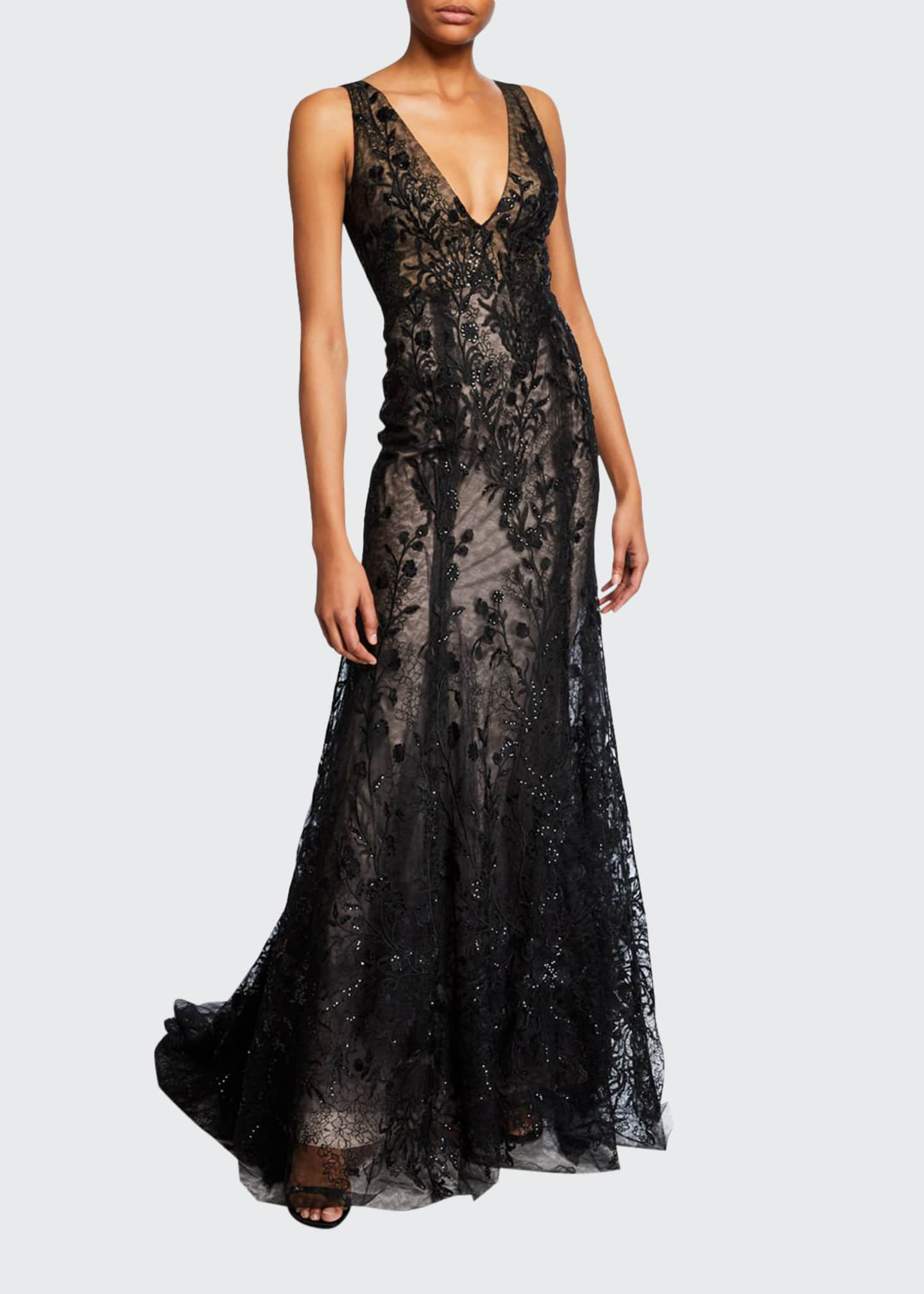 Monique Lhuillier Embroidered-Tulle V-Neck Mermaid Gown