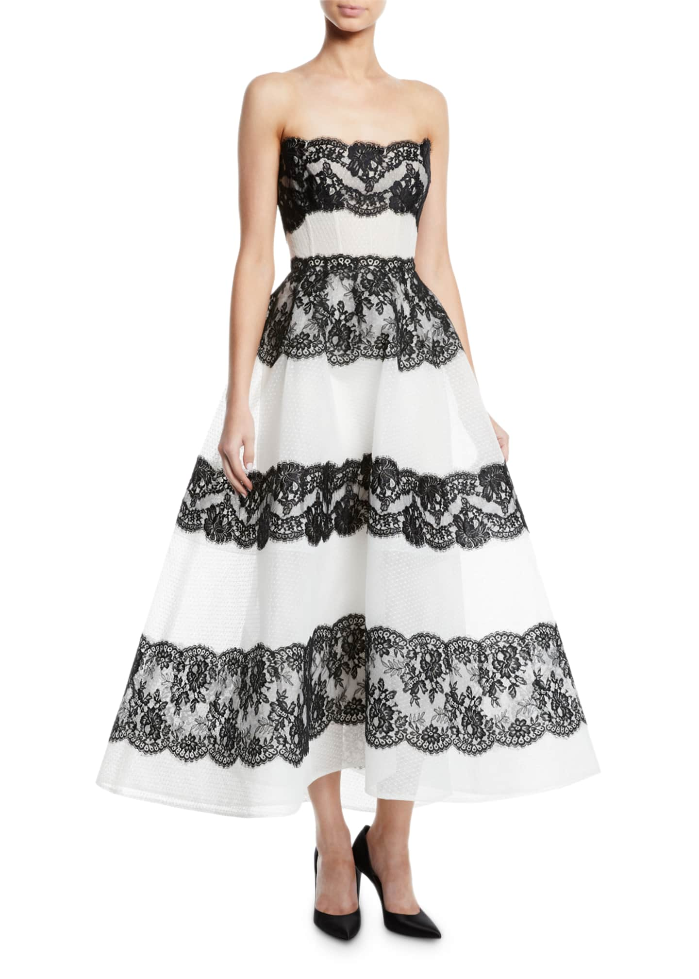 Monique Lhuillier Corseted Strapless Tea-Length Gown with Lace