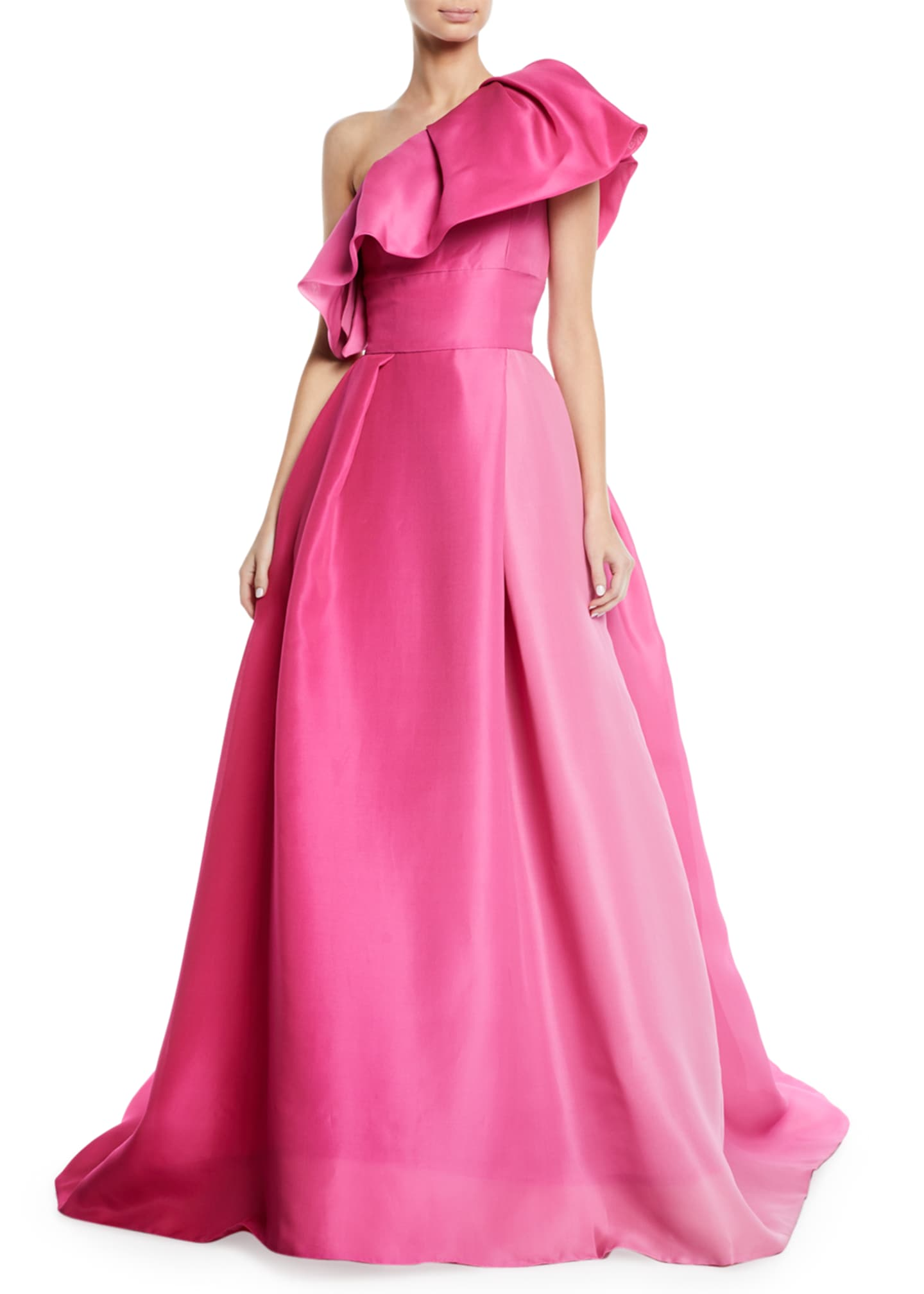 Monique Lhuillier One-Shoulder Ruffle-Neckline Ball Gown