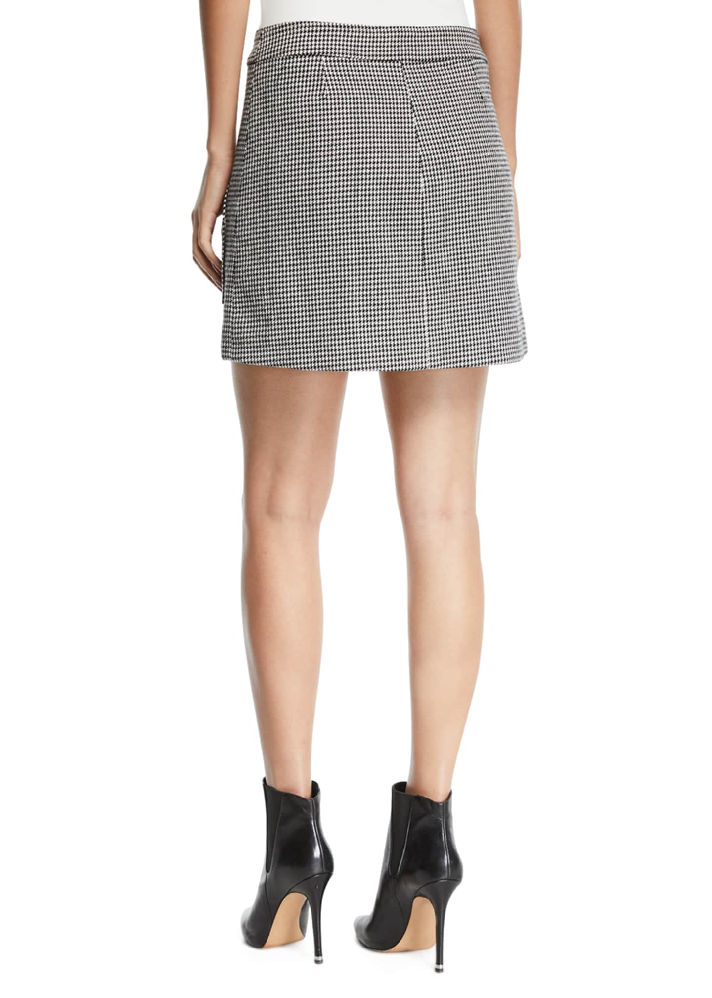 Image 2 of 3: Monroe Houndstooth Button-Front Mini Skirt