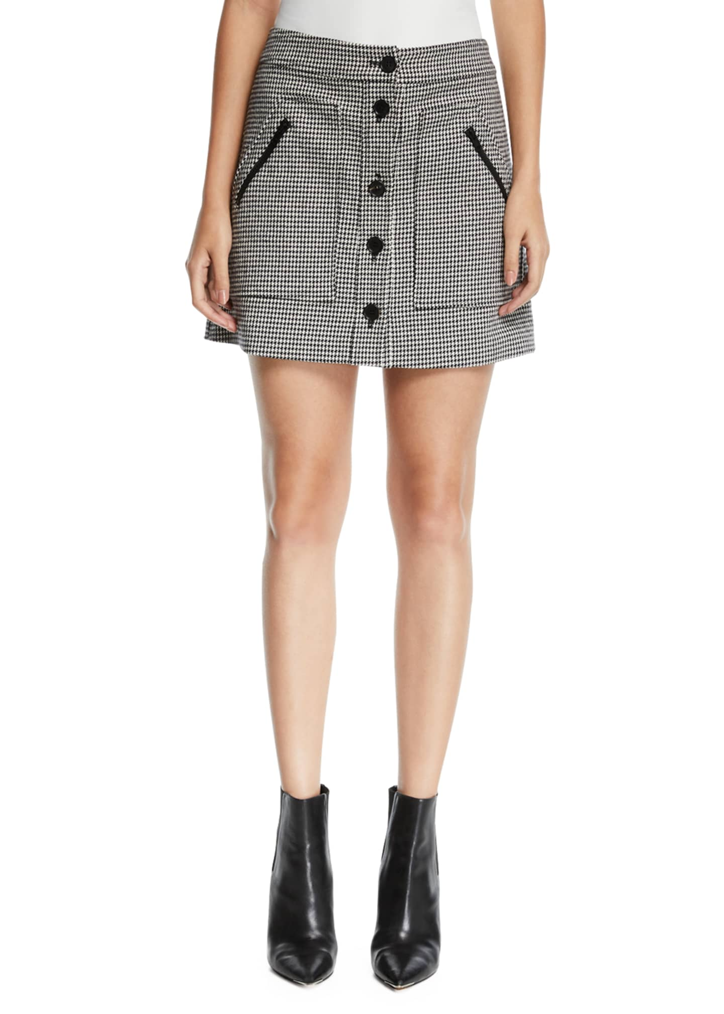Image 1 of 3: Monroe Houndstooth Button-Front Mini Skirt