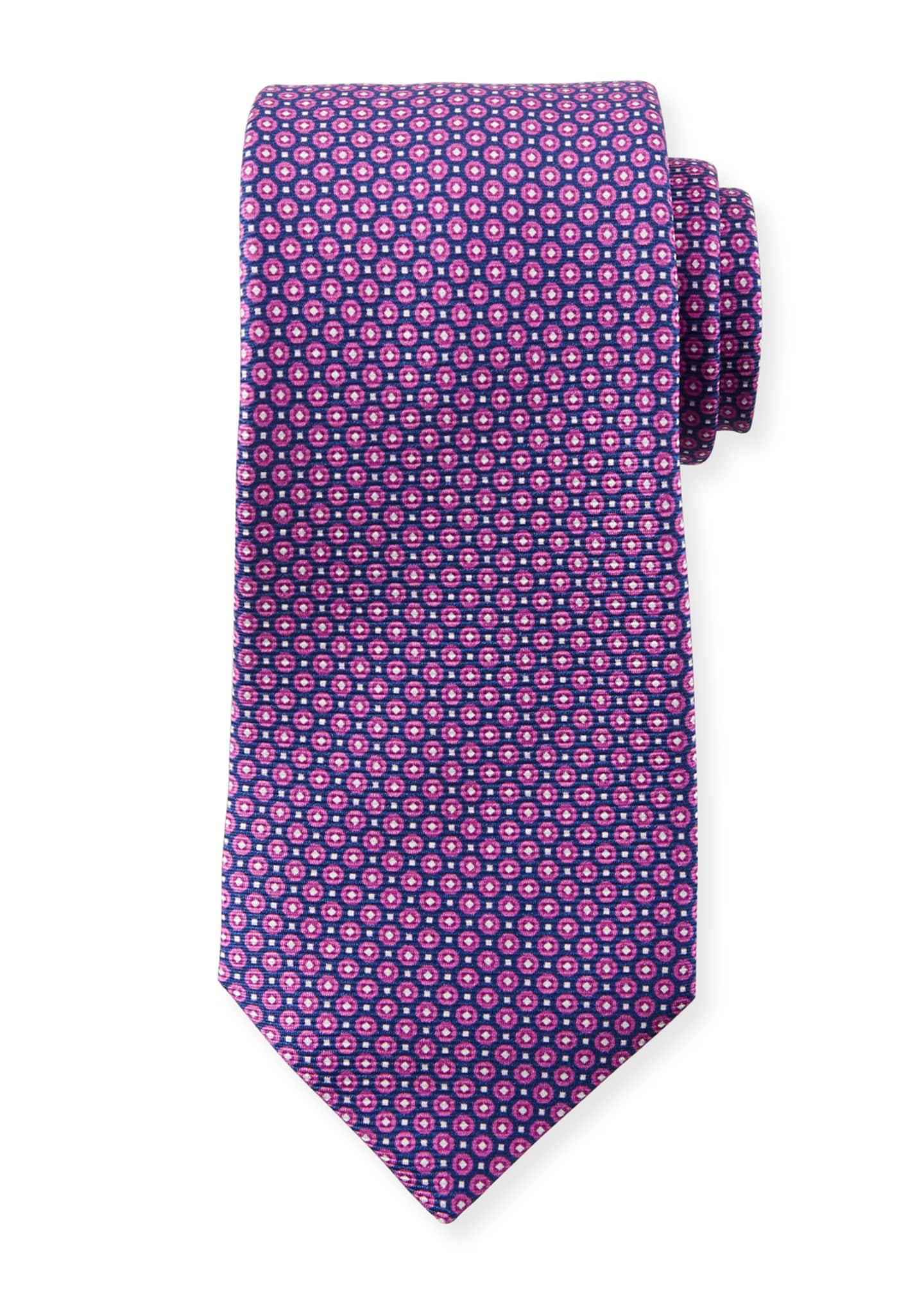 Kiton Men's Micro Circles Tie, Purple
