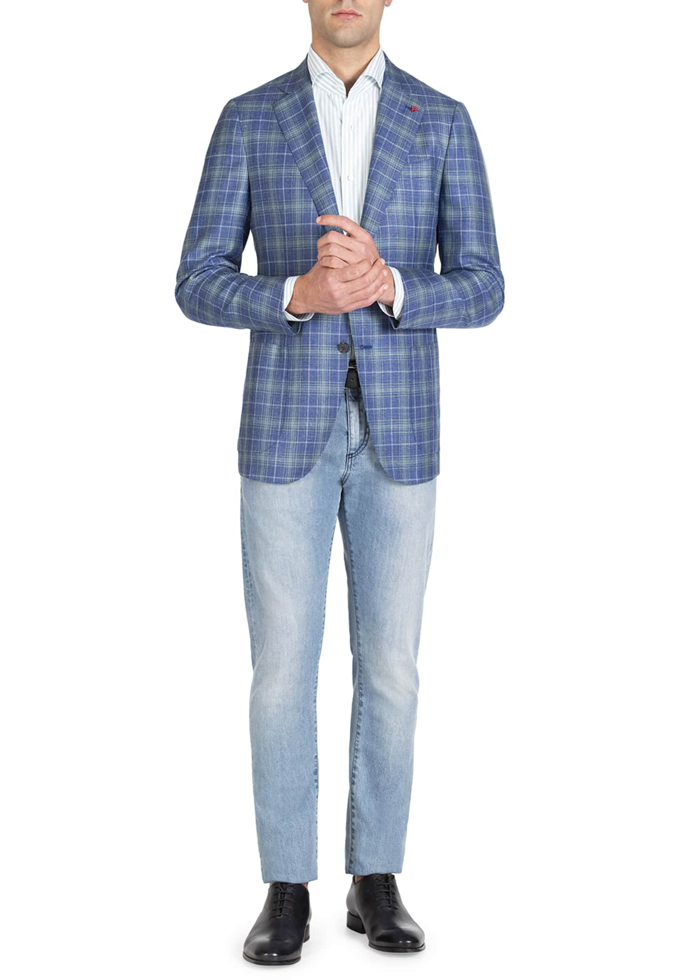 Image 2 of 4: Men's Two-Tone Plaid Two-Button Jacket