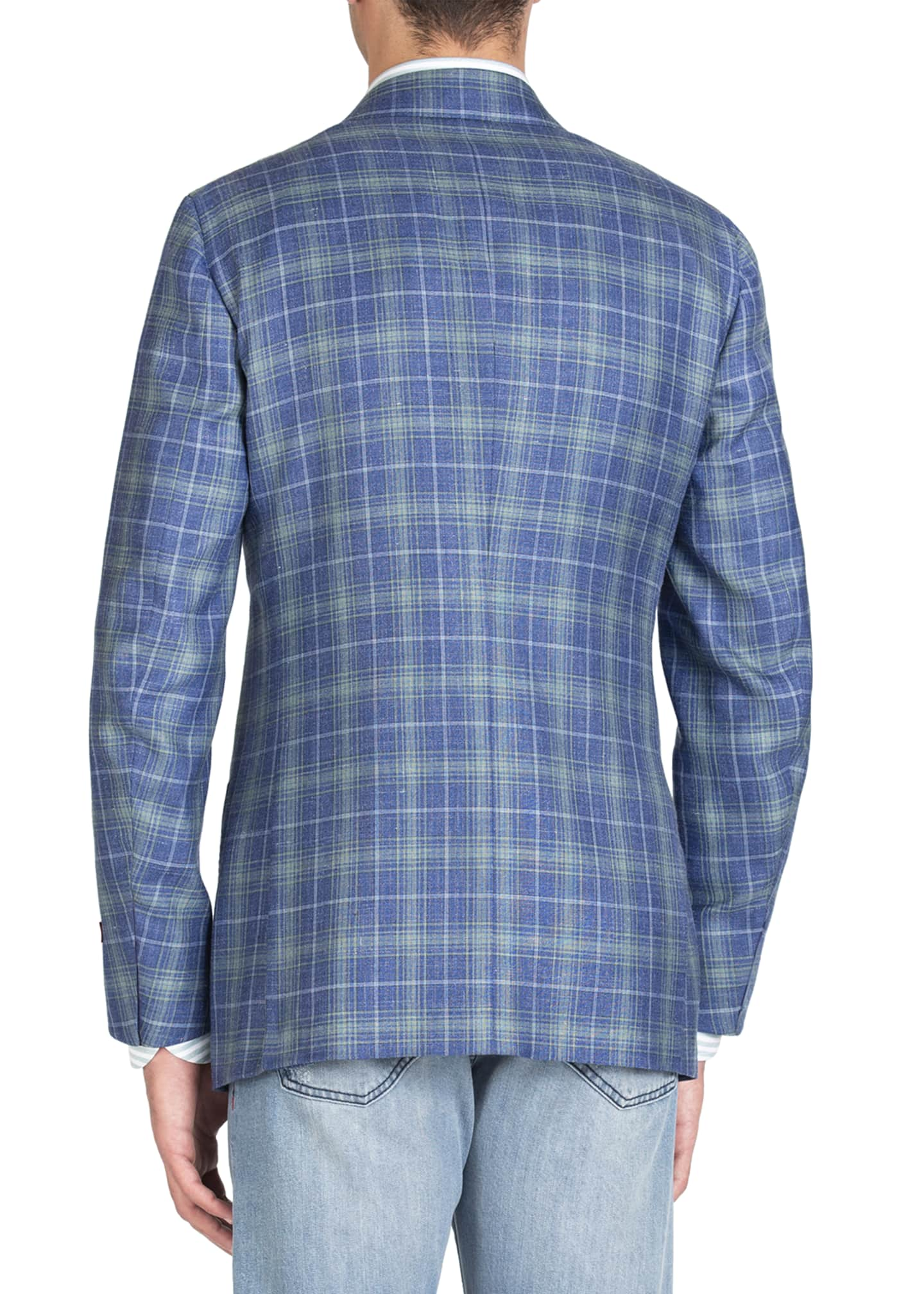 Image 3 of 4: Men's Two-Tone Plaid Two-Button Jacket