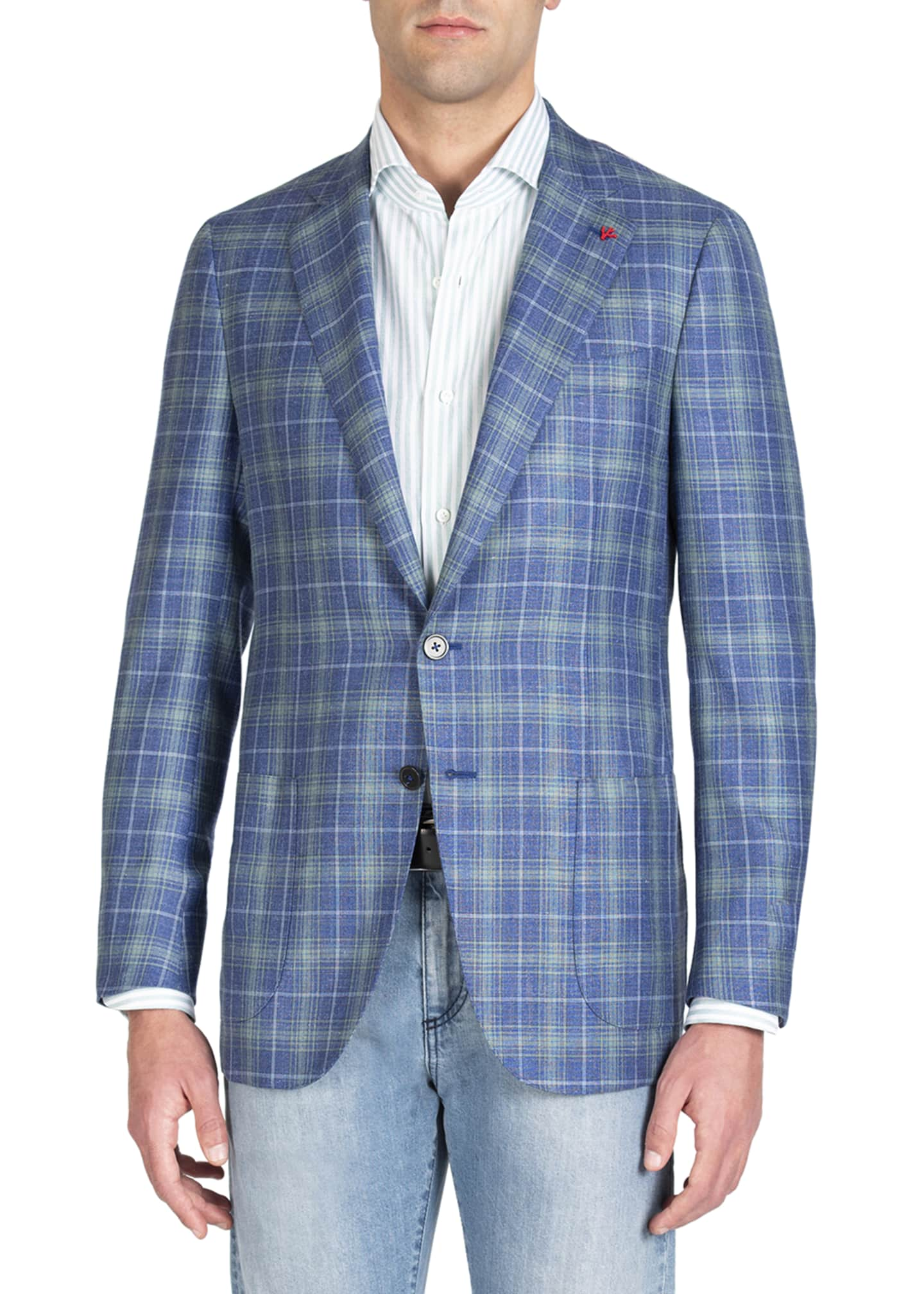 Image 1 of 4: Men's Two-Tone Plaid Two-Button Jacket