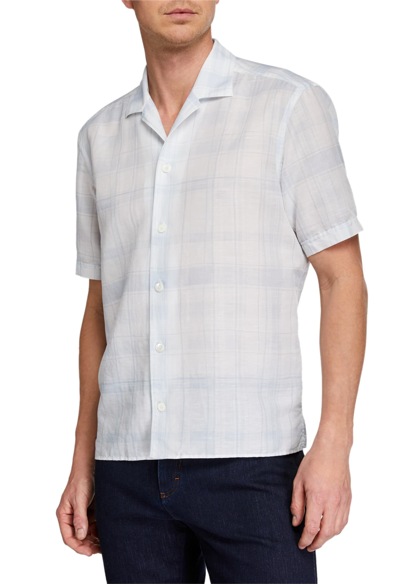 Ermenegildo Zegna Men's Striped Linen-Blend Short-Sleeve Sport