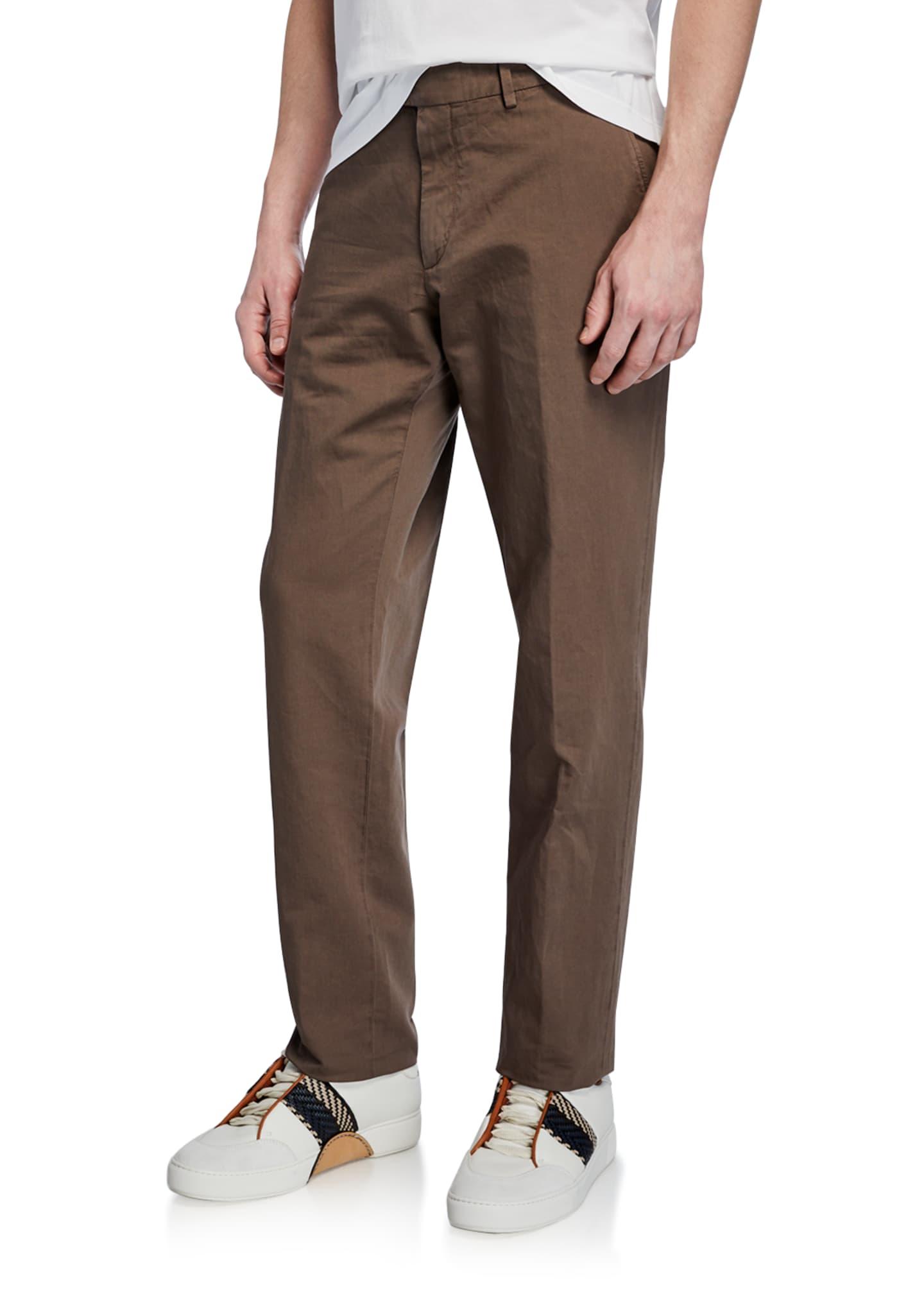 Ermenegildo Zegna Men's Linen-Blend Straight-Leg Trousers