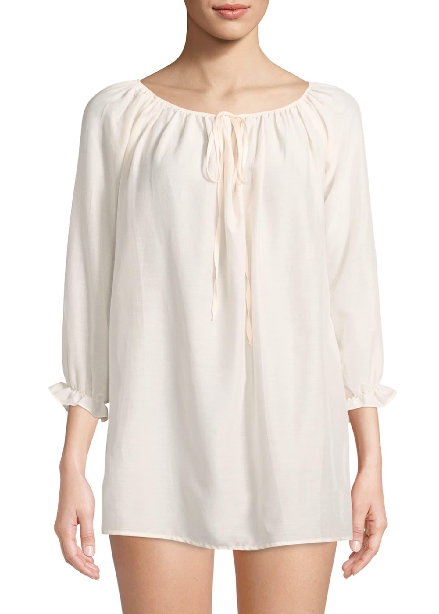 Pour Les Femmes Cotton Peasant Sleep Shirt