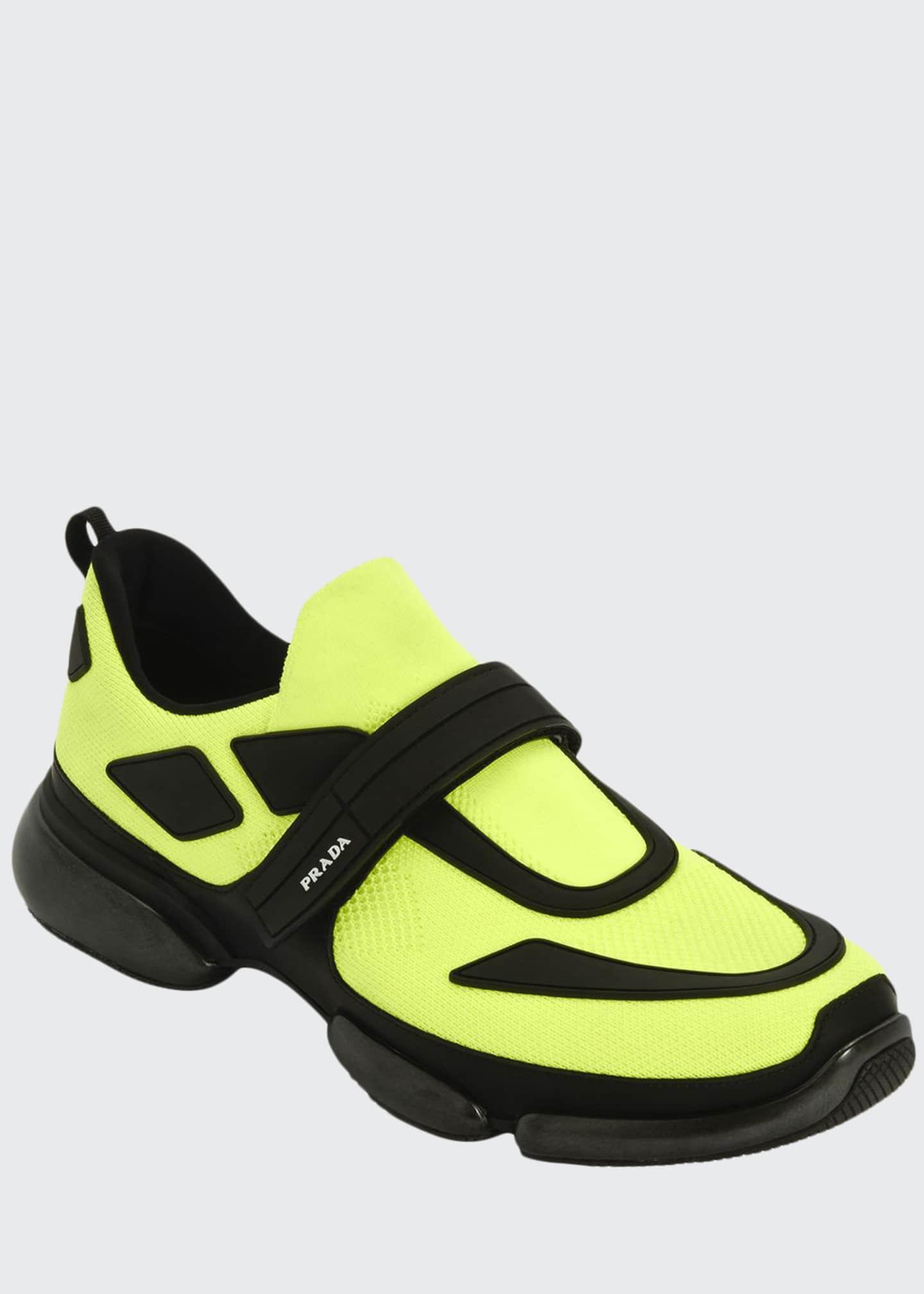 Prada Men's Cloudbust Knit Running Sneakers with Single