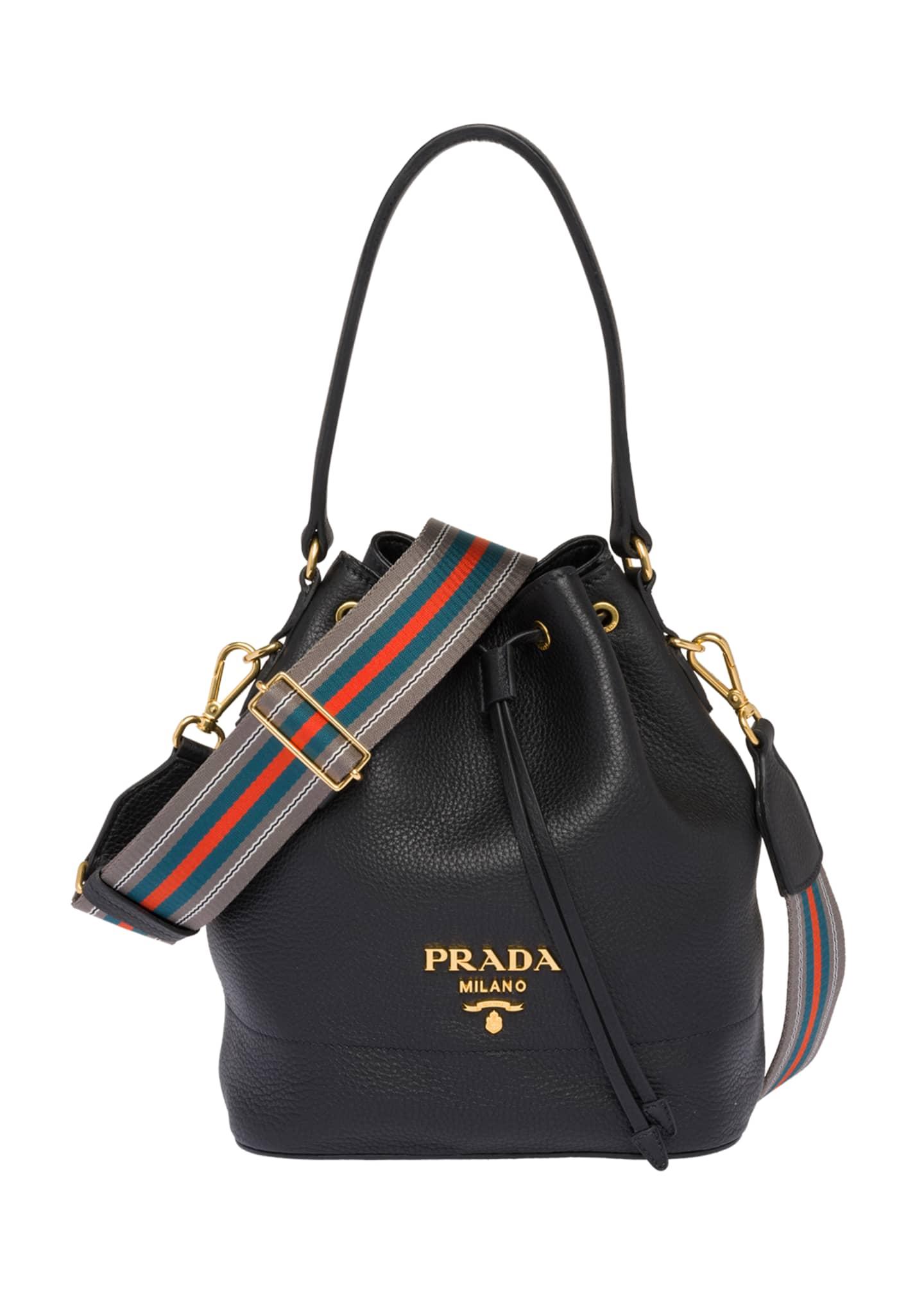Prada Daino Top-Handle Bucket Bag with Web Strap