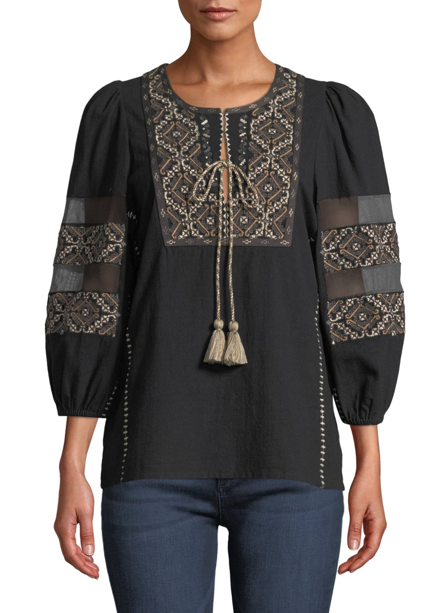 Figue Joni 3/4-Sleeve Embroidered Peasant Blouse