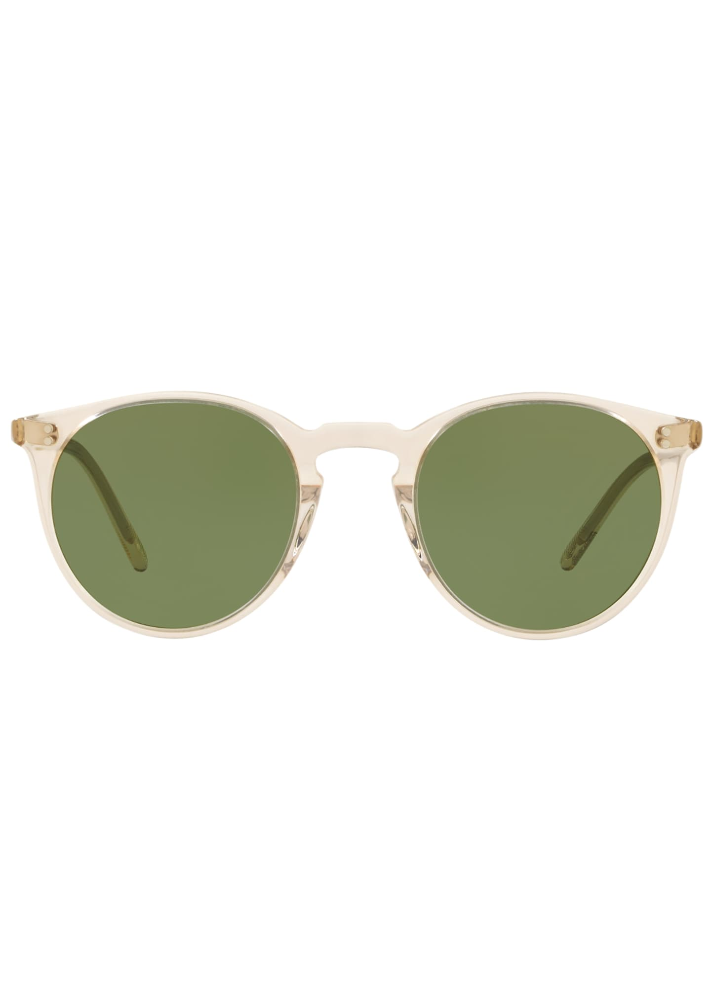 Image 2 of 2: Men's O'Malley Peaked Round Sunglasses with Mineral Glass Lenses - Buff Green