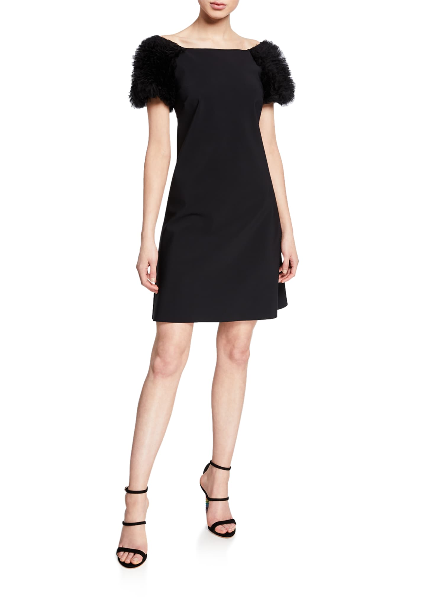 La Petite Robe Boat-Neck Ruffle-Sleeve Short Dress