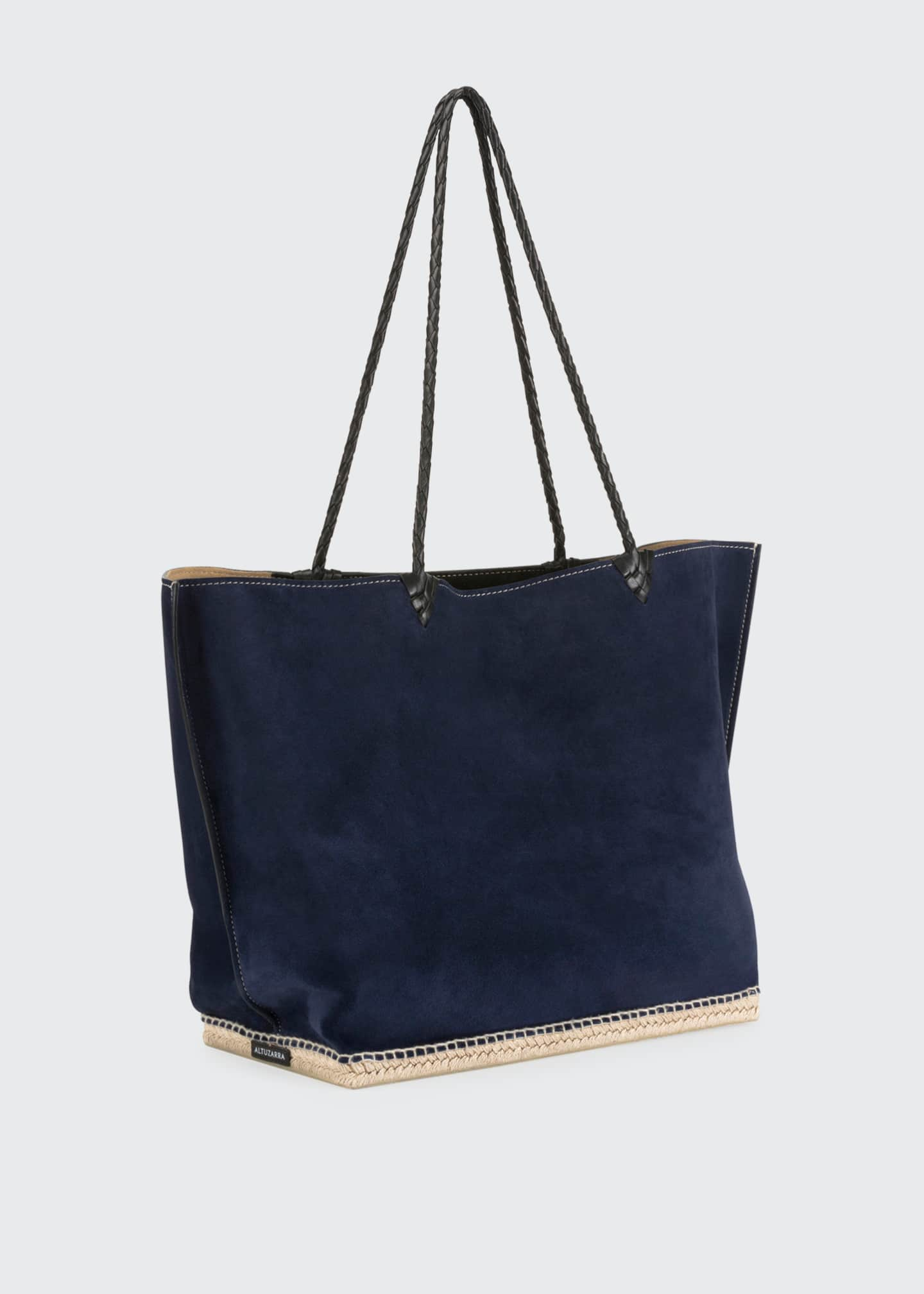 Image 3 of 6: Espadrille Large Suede Shoulder Tote Bag