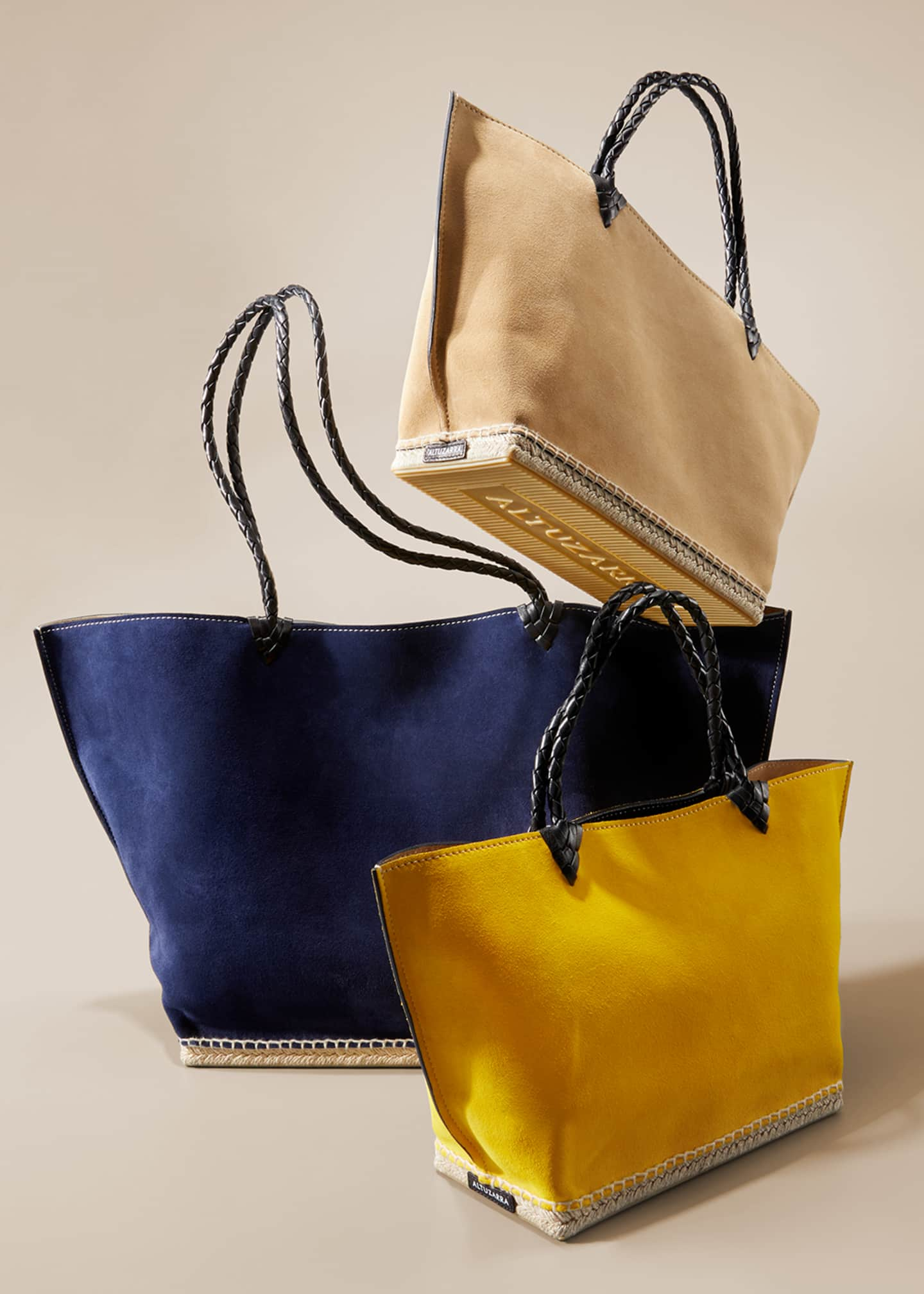 Image 2 of 6: Espadrille Large Suede Shoulder Tote Bag