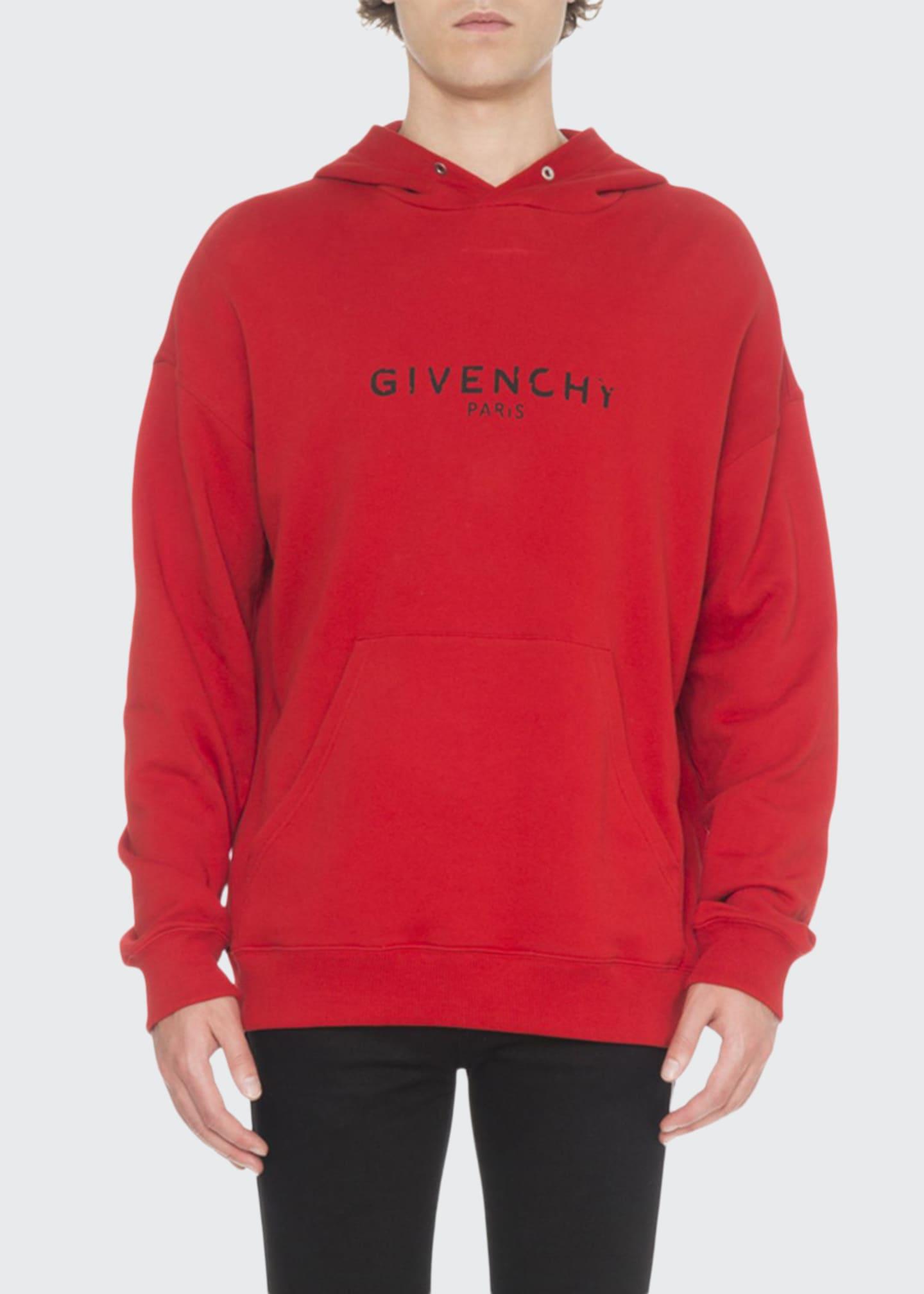 Givenchy Men's Distressed Logo-Print Hoodie Sweatshirt