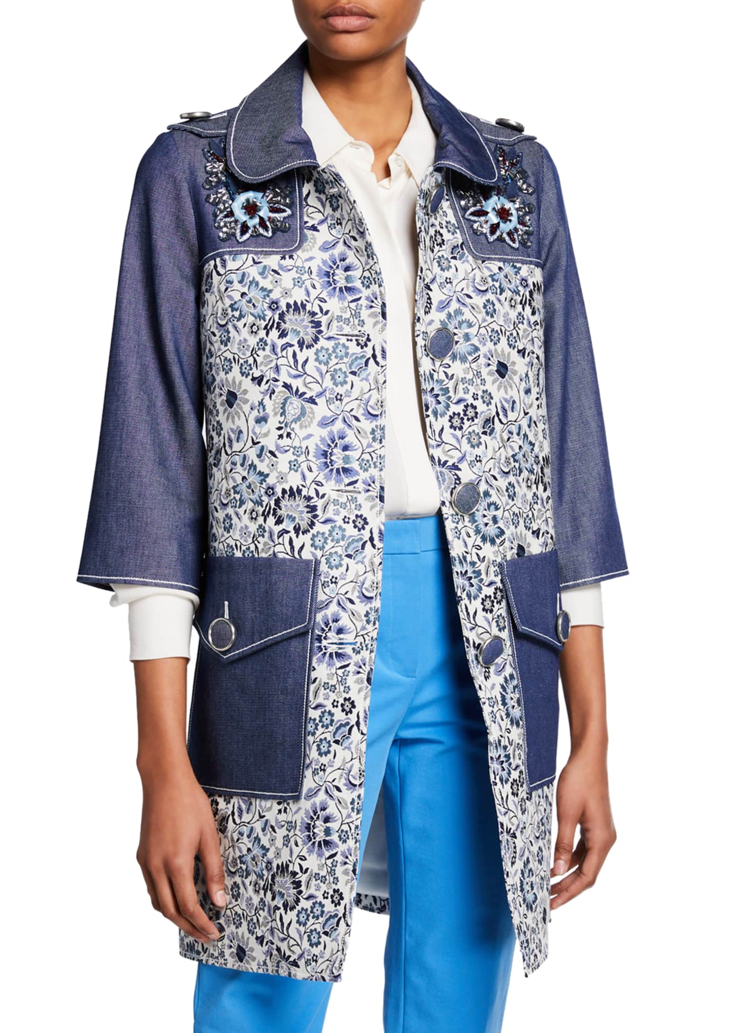 Andrew Gn 3/4-Sleeve Floral-Print and Denim Coat w/