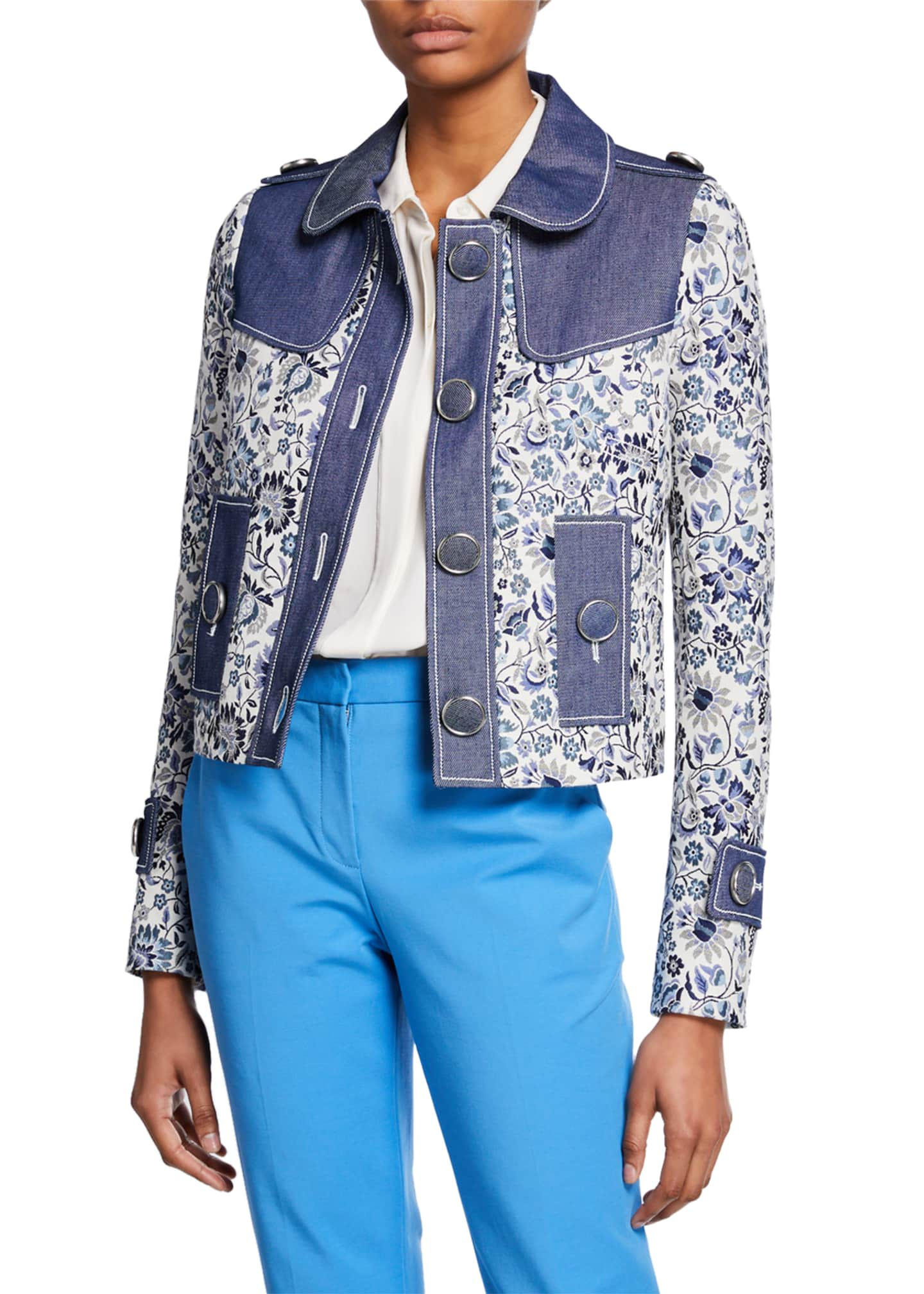 Andrew Gn Floral Jacket with Denim Trim