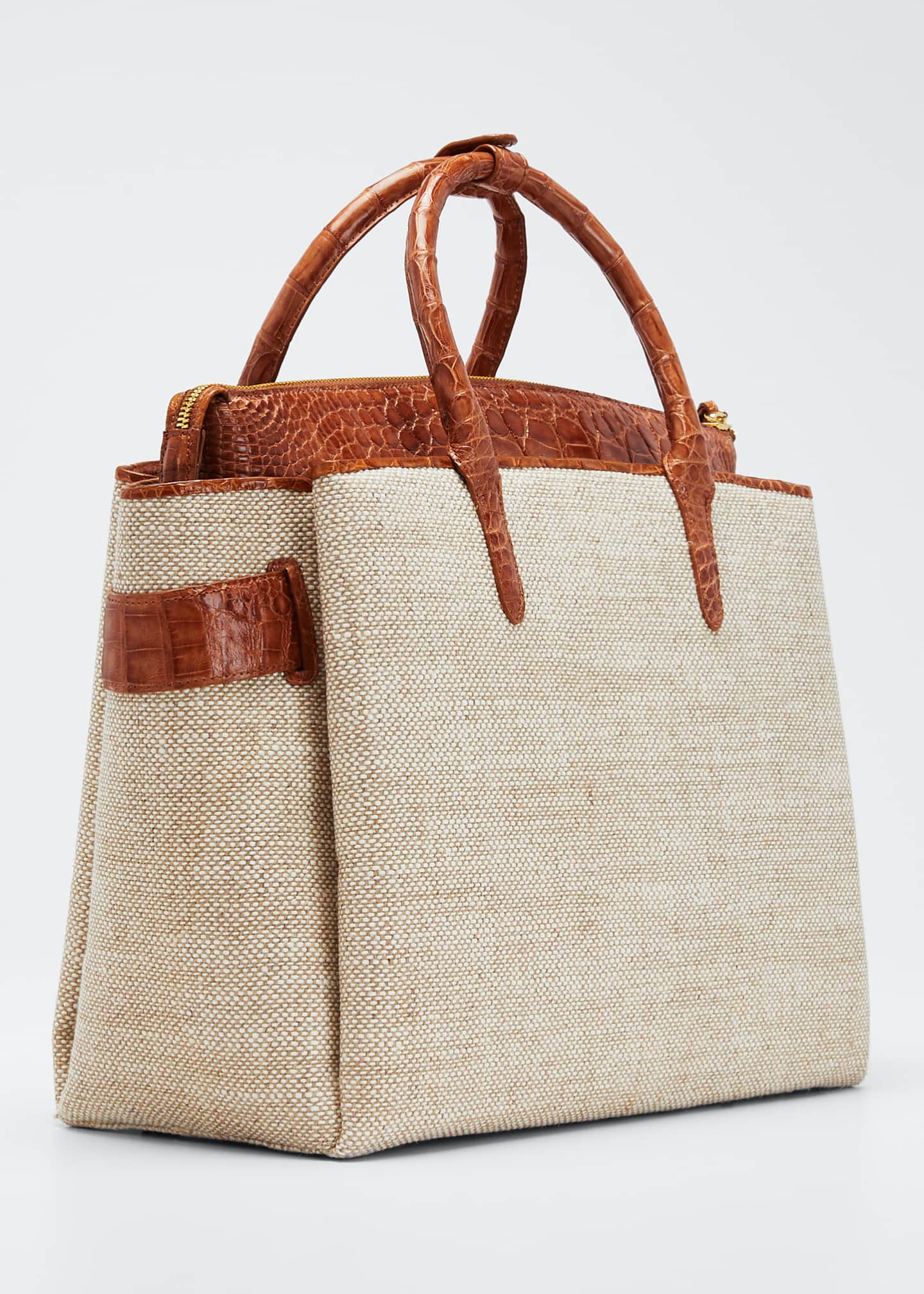 Image 3 of 5: Cristie Medium Linen Tote Bag